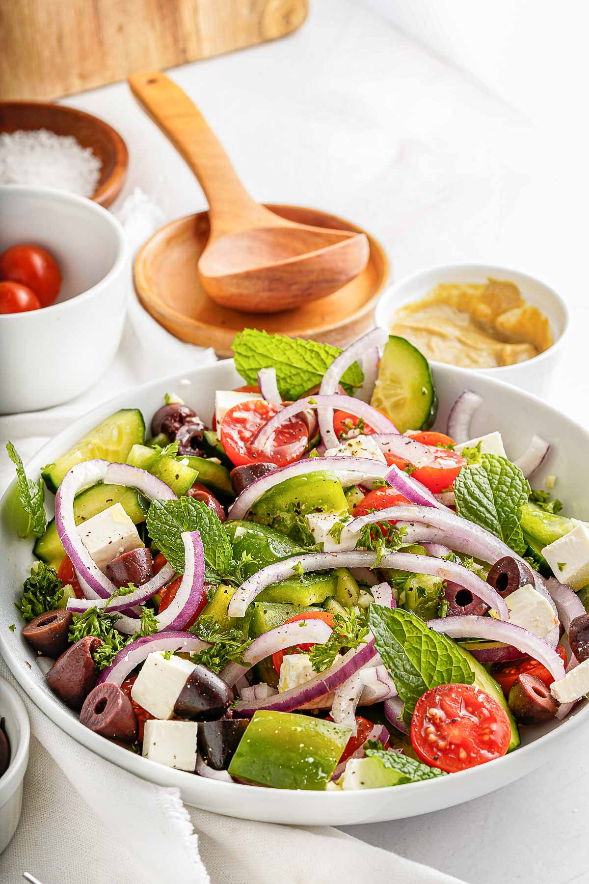 greek salad side view close