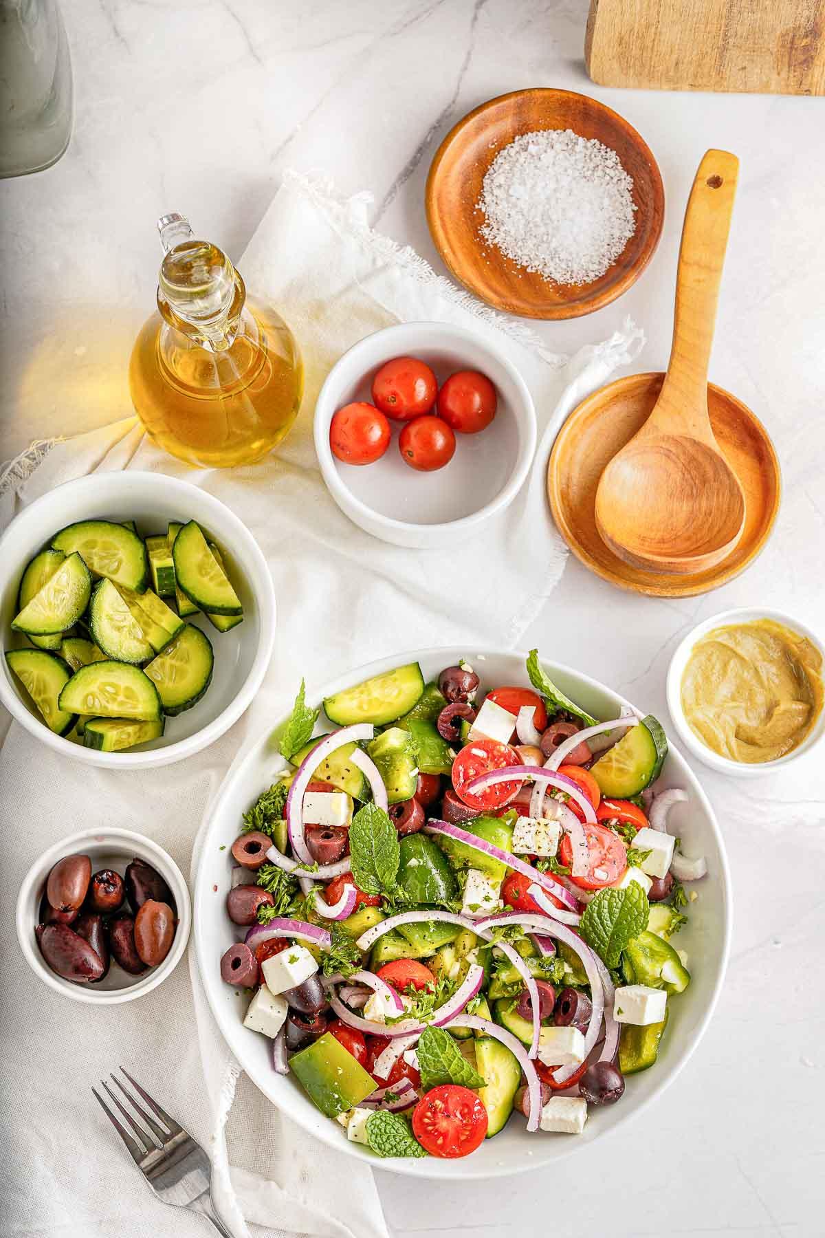 greek salad with dressing ingredients