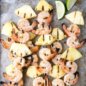 grill with shrimp skewers square