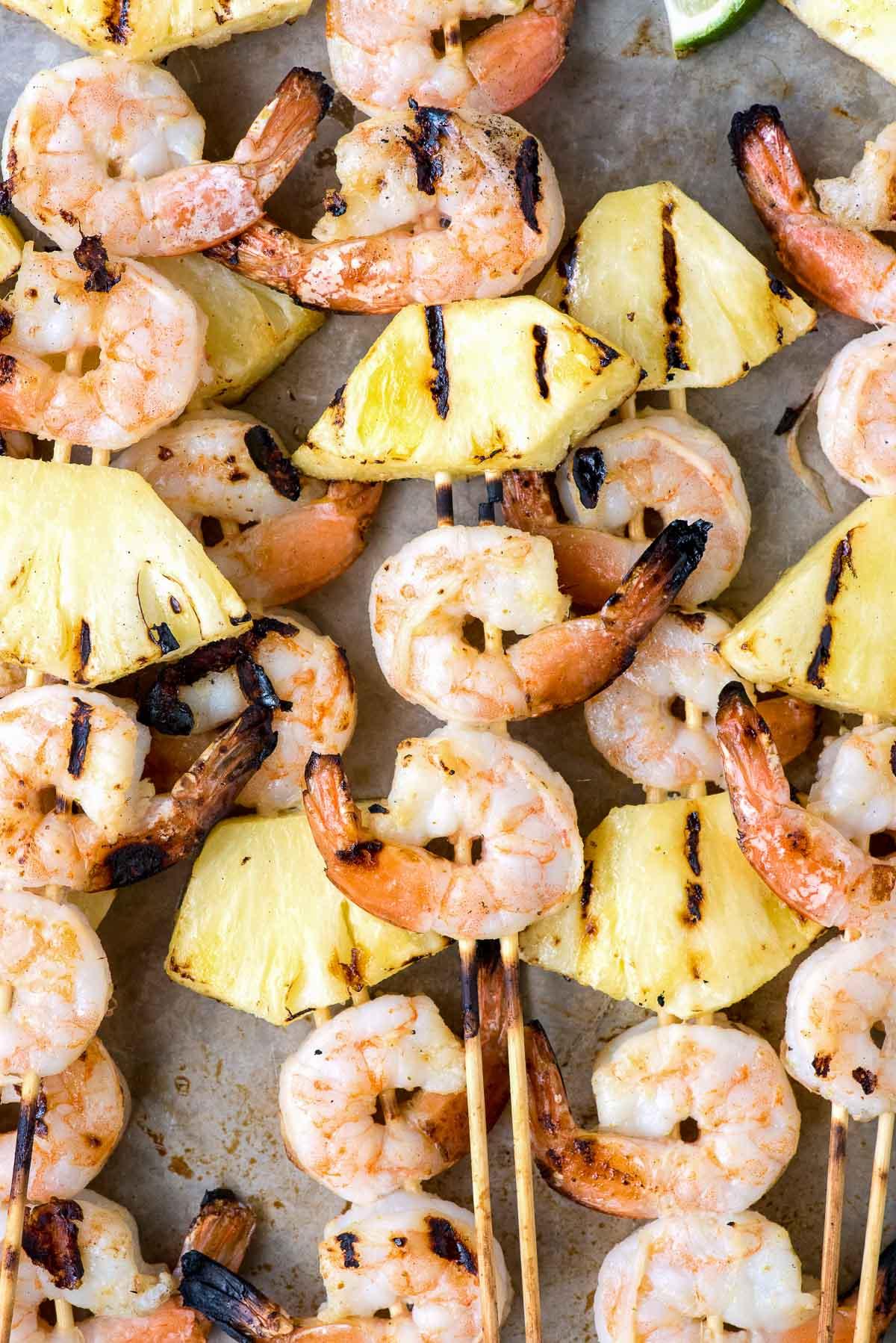 close up of grilled shrimp skewers