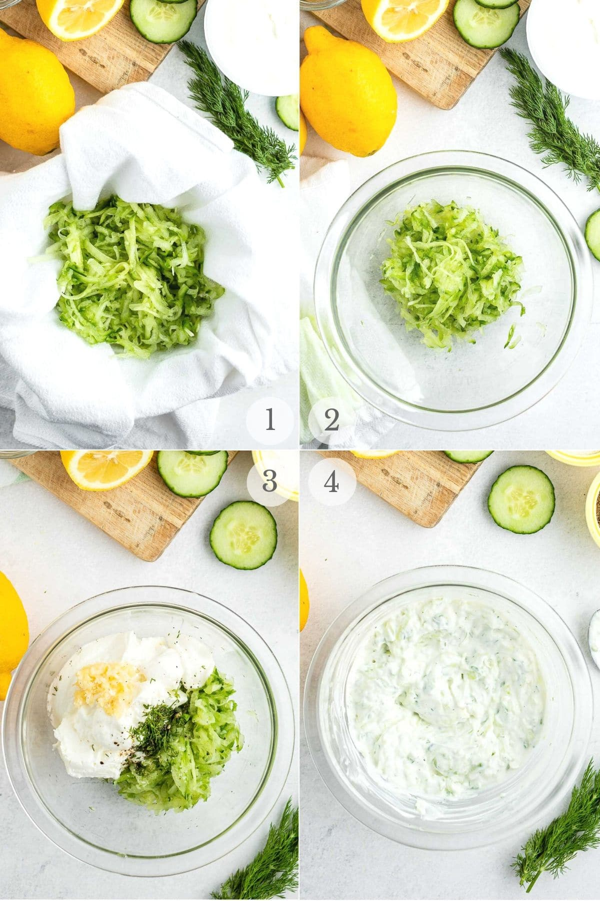 how to make tzatziki sauce photo collage recipe steps