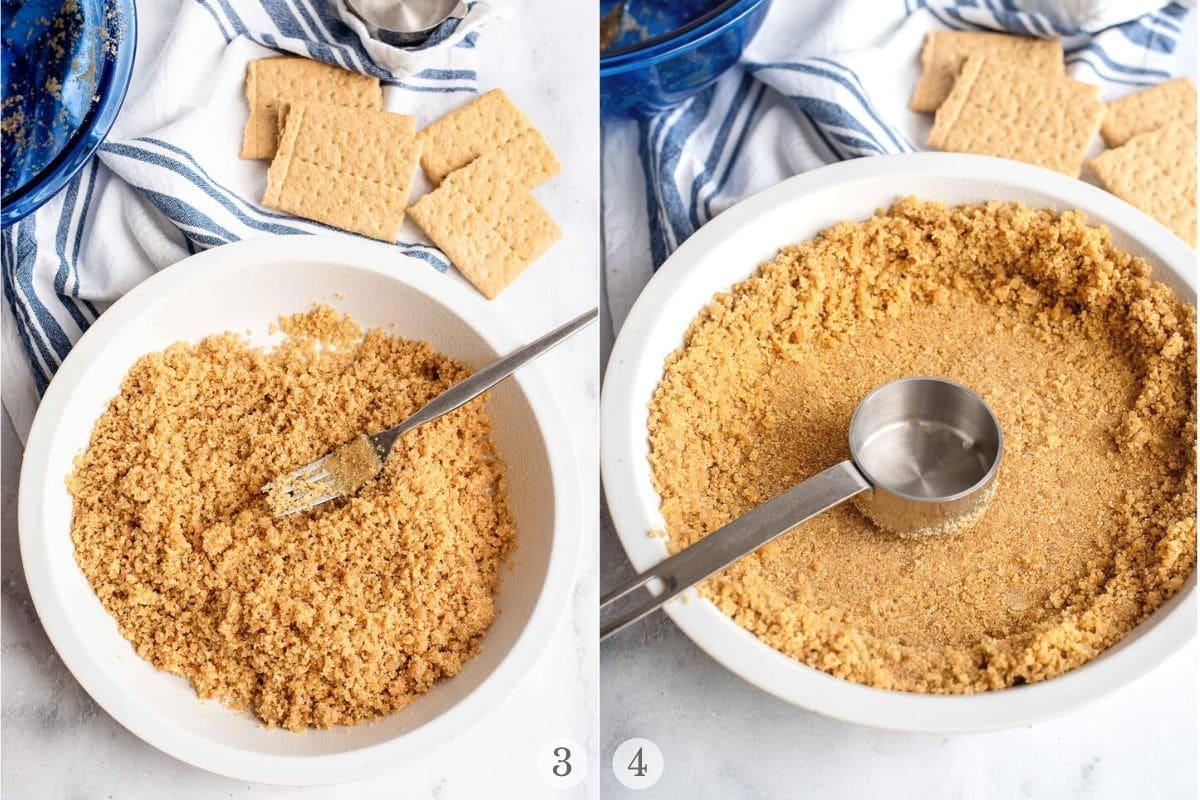 pressing crumbs to make graham cracker pie crust