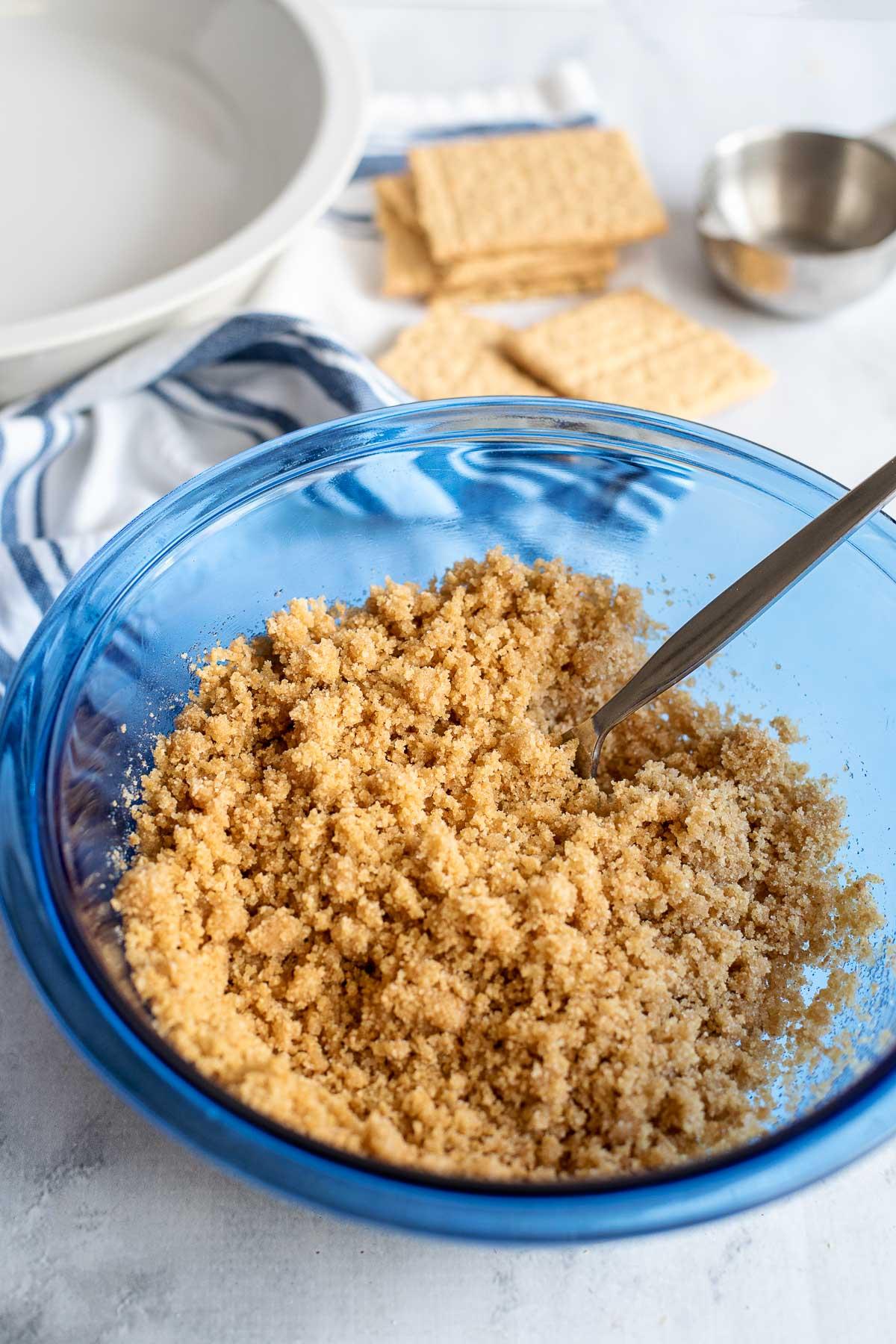 mixed graham cracker crumb crust ingredients