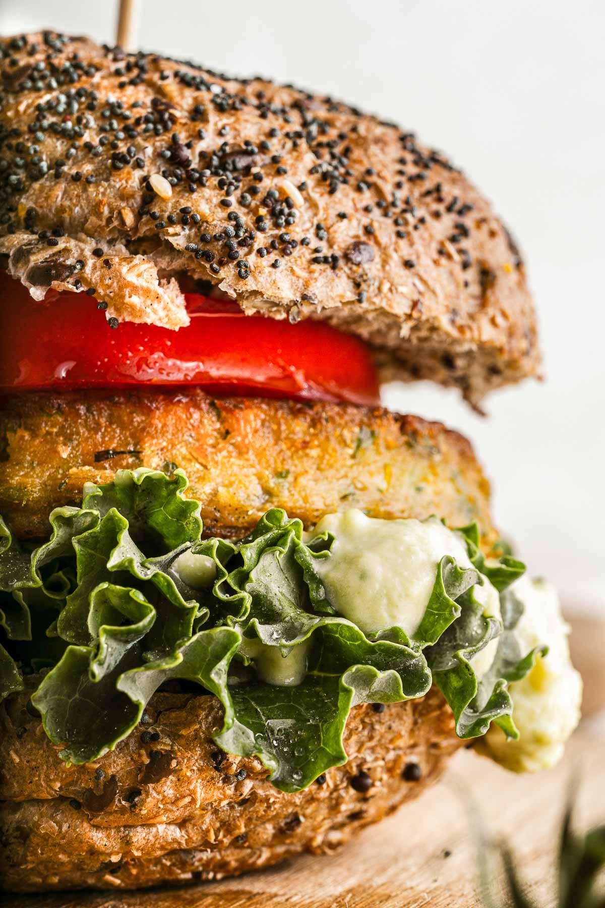 veggie burger close up