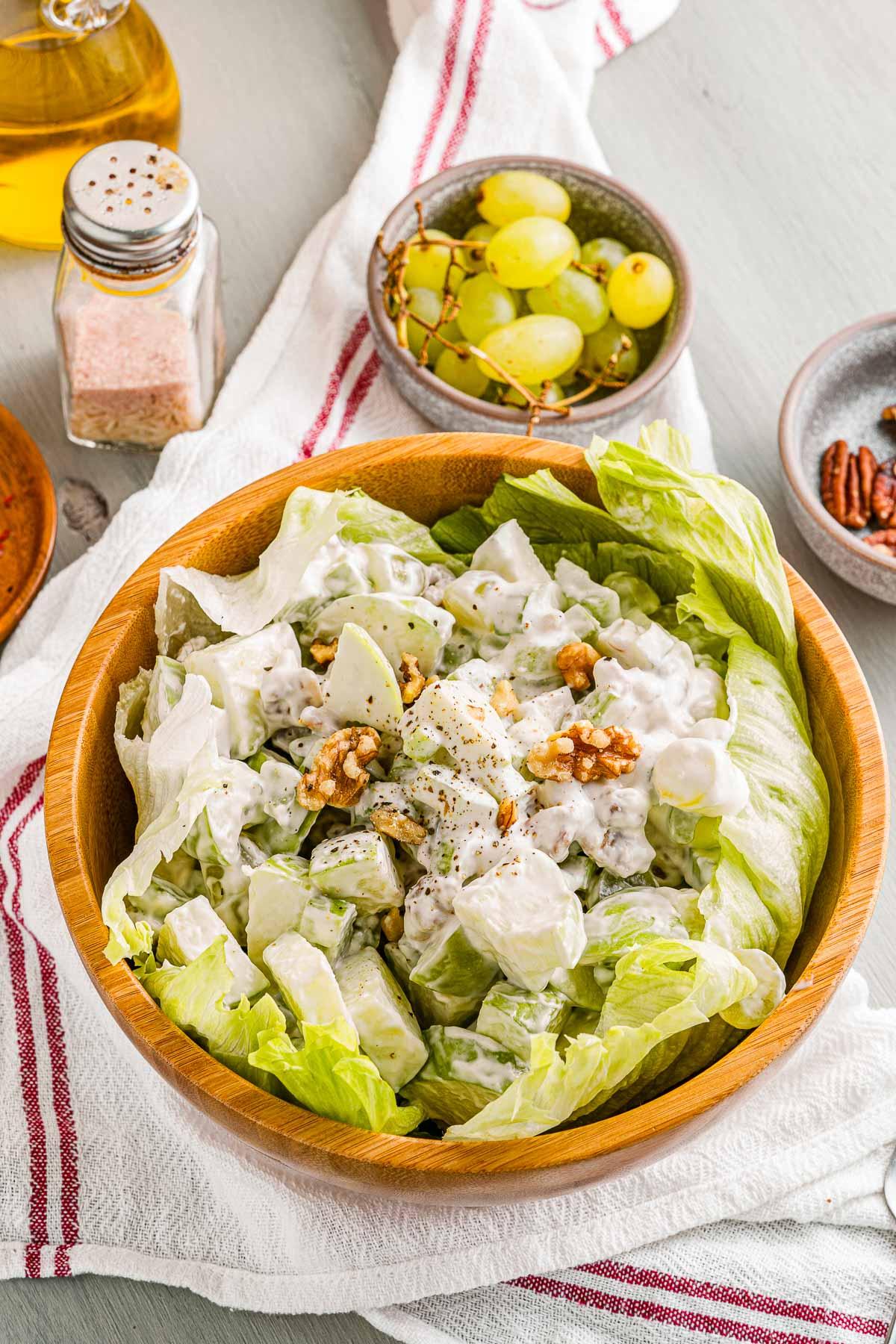 waldorf salad overhead side view