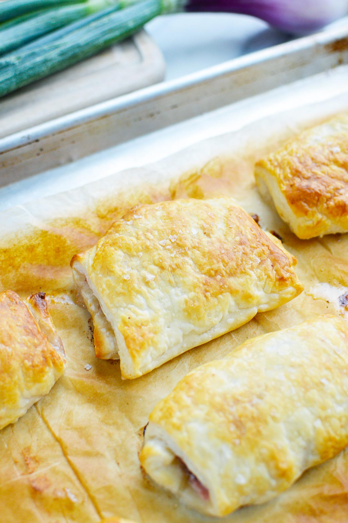 baked puff pastry on baking sheet