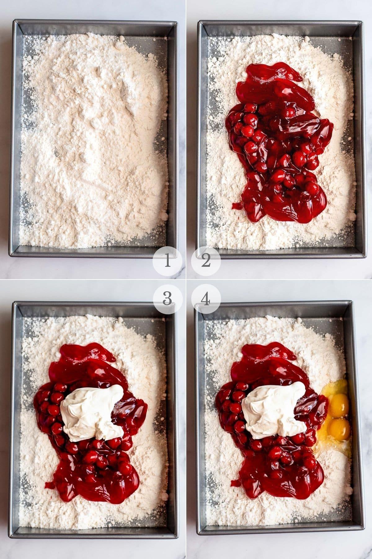 cherry cake recipe steps 1-4
