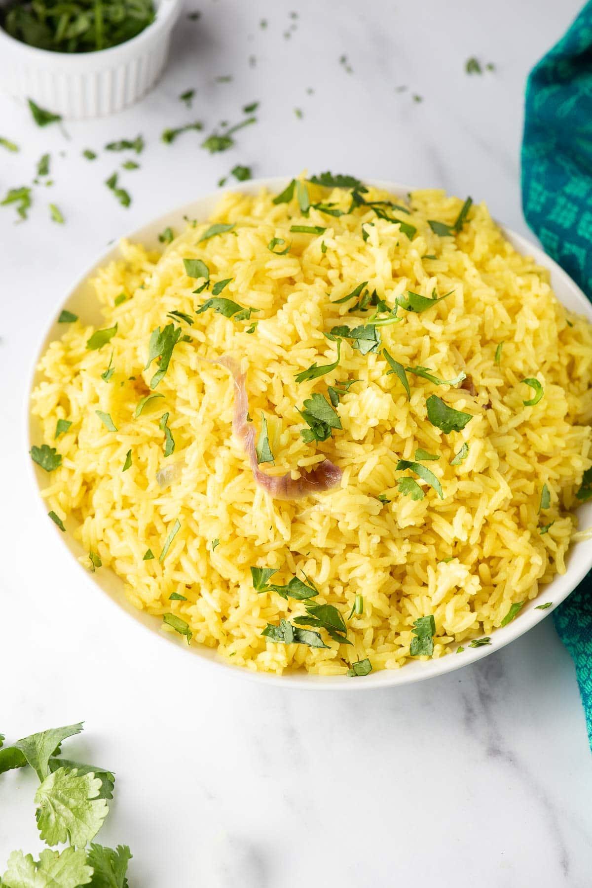 coconut rice in white bowl