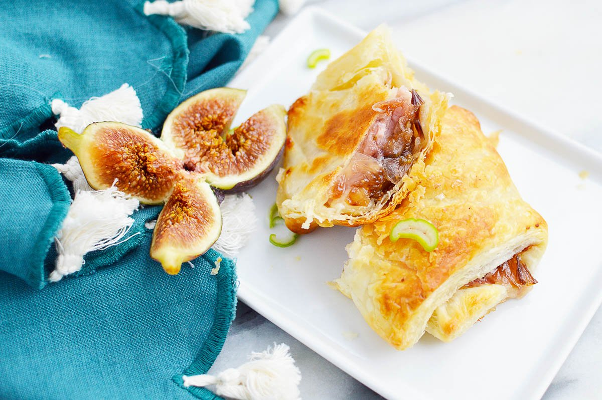 onion and fig puff pastry with figs
