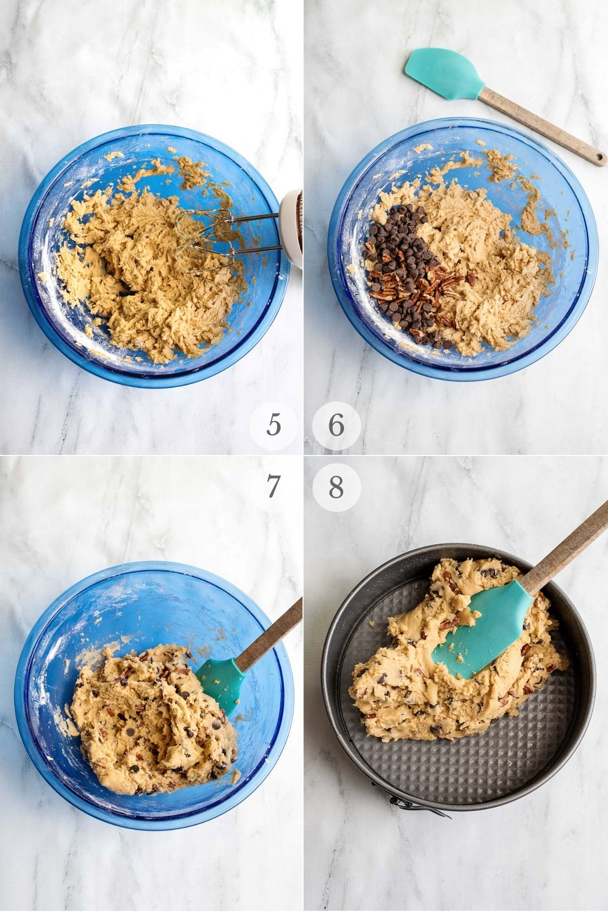 Cookie cake recipe steps collage 5-8