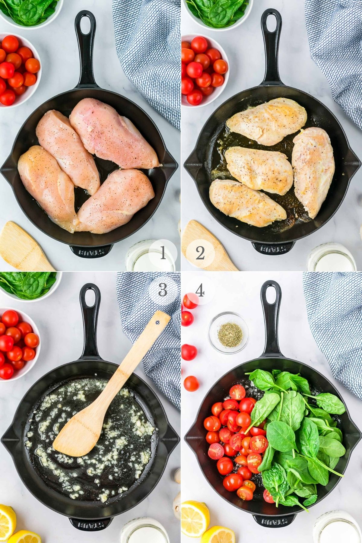 Creamy Tuscan Chicken recipe steps 1-4