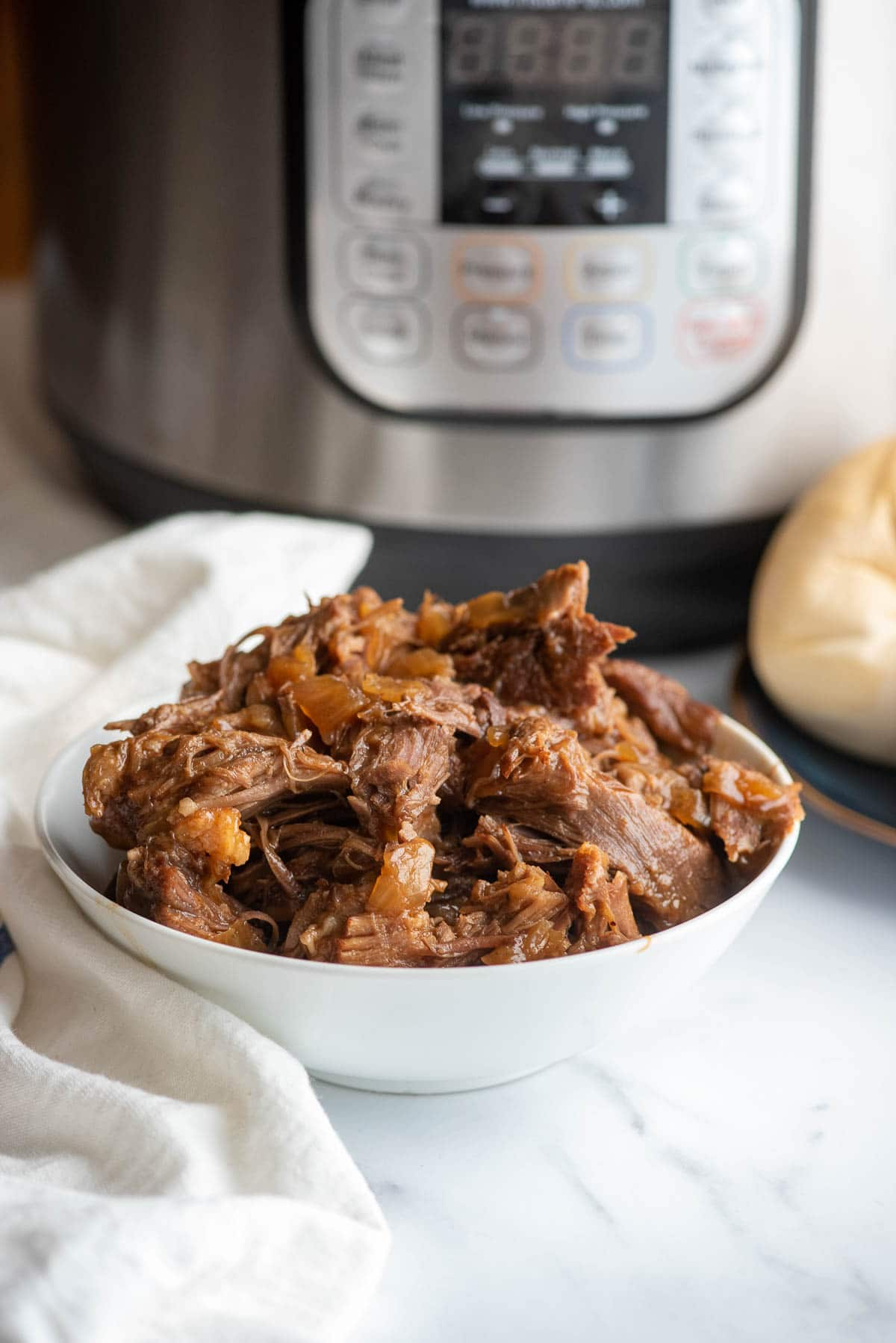 bowl of bbq pulled pork with IP