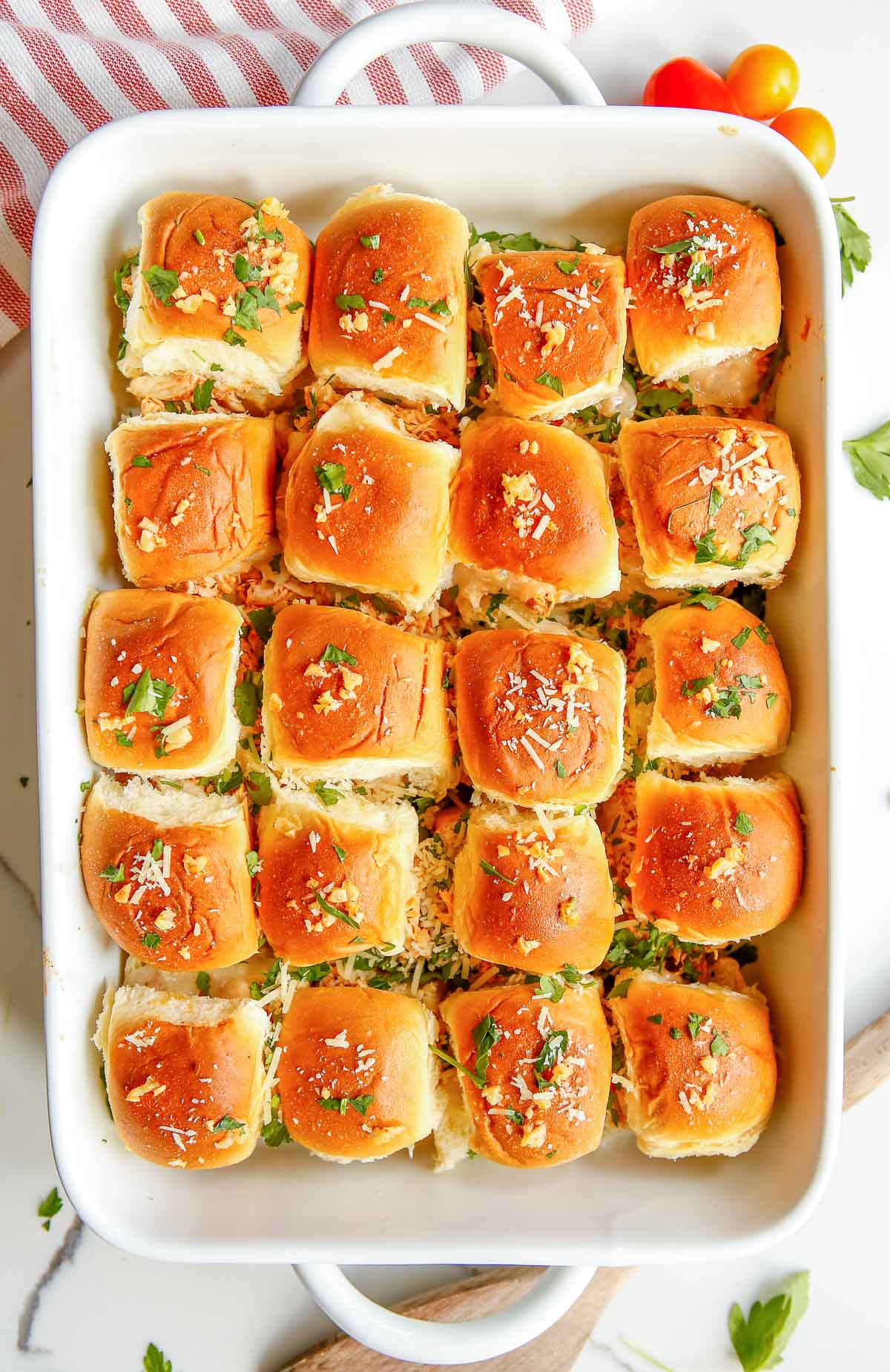 chicken parmesan sliders in baking dish
