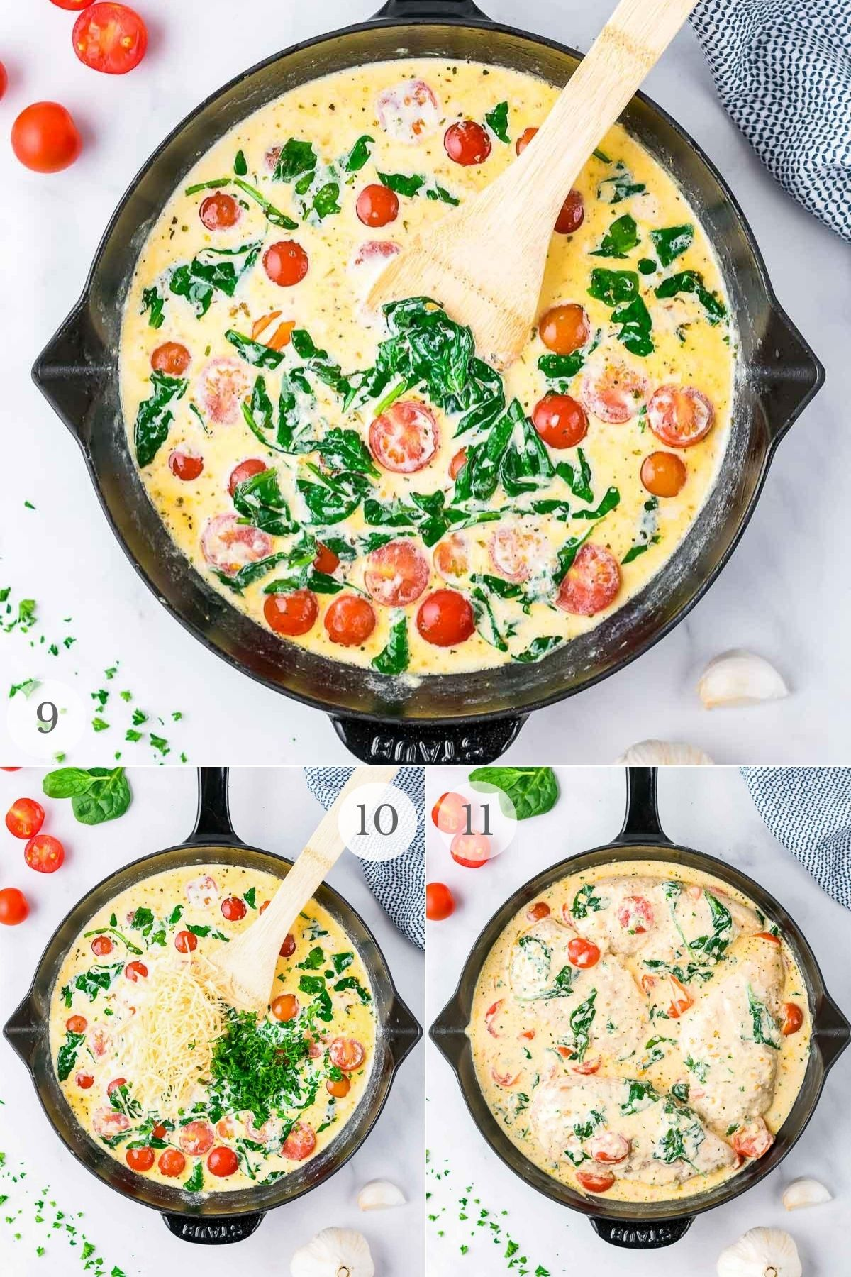 creamy tuscan chicken recipe steps 9-11