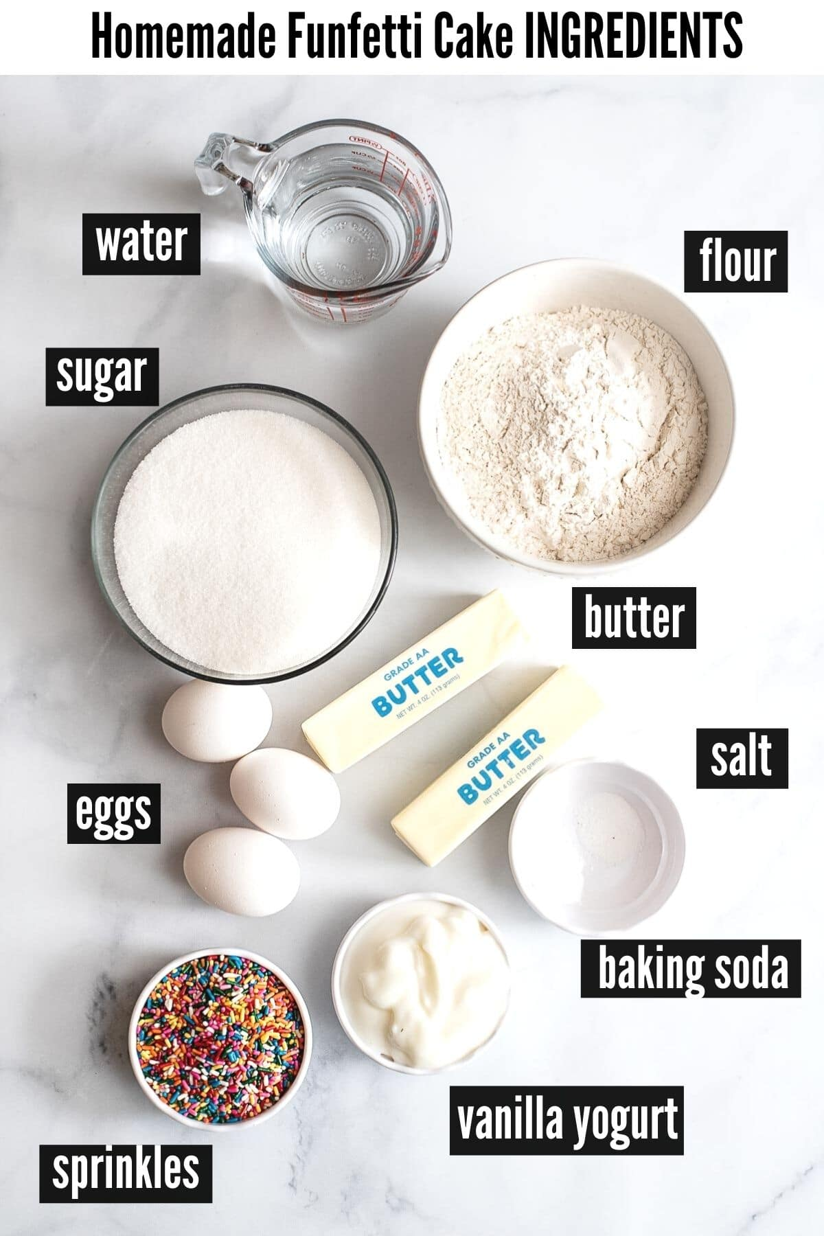 funfetti cake ingredients labelled
