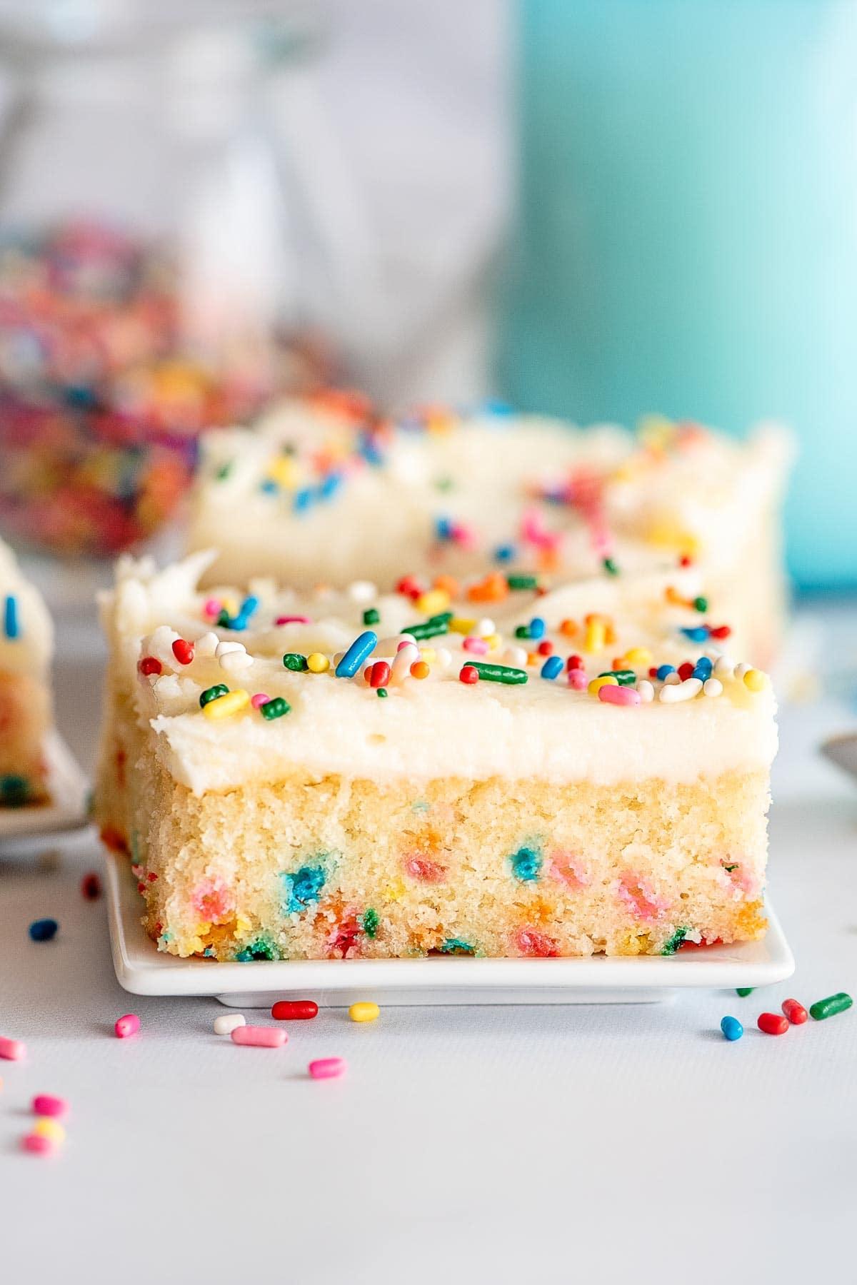 funfetti cake slice from side