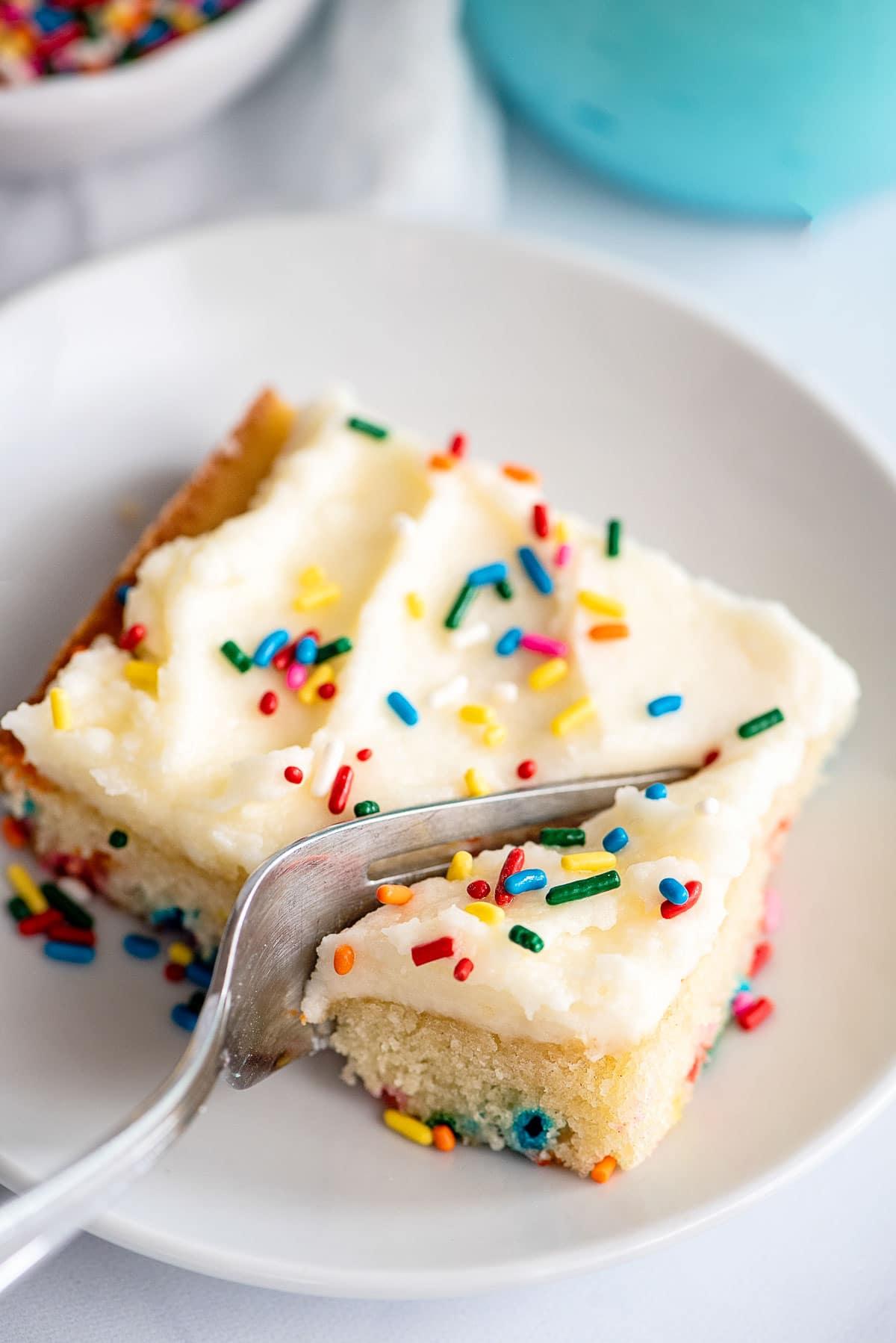 funfetti cake slice with fork