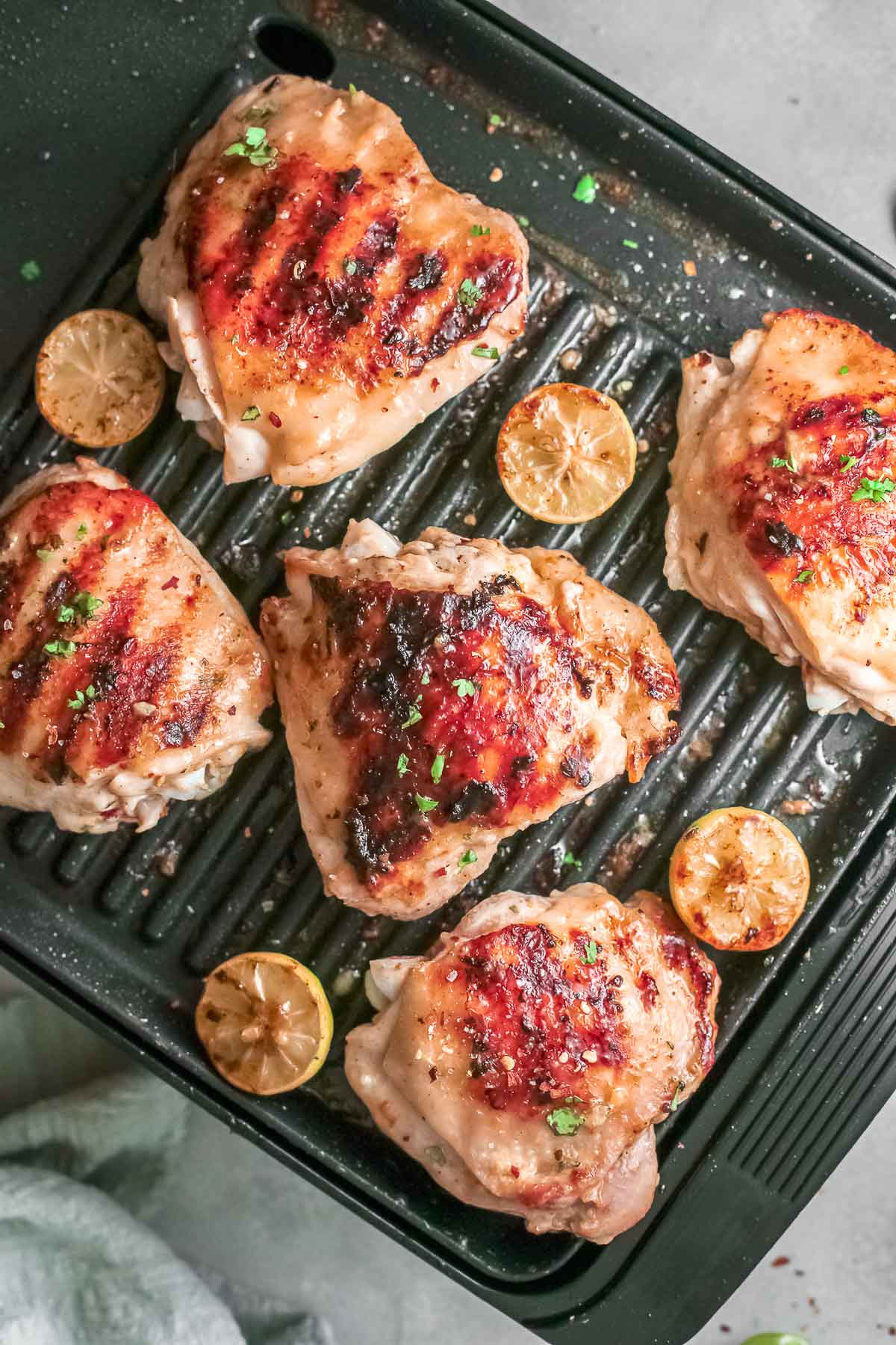 grilled mango chicken on grill pan
