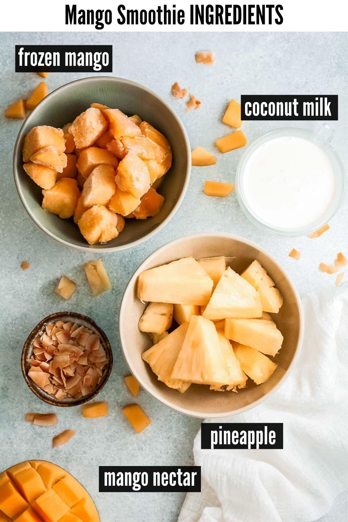 mango smoothie ingredients labelled