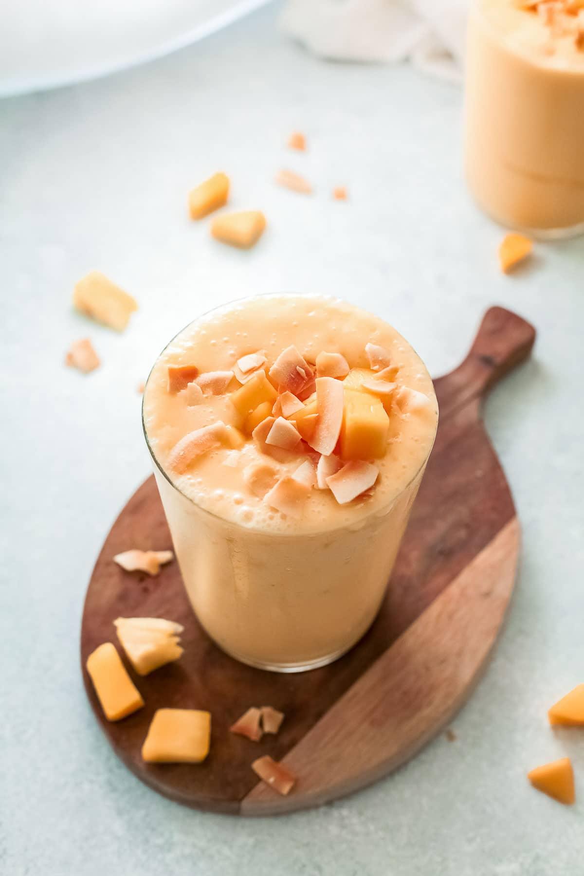 mango smoothie overhead