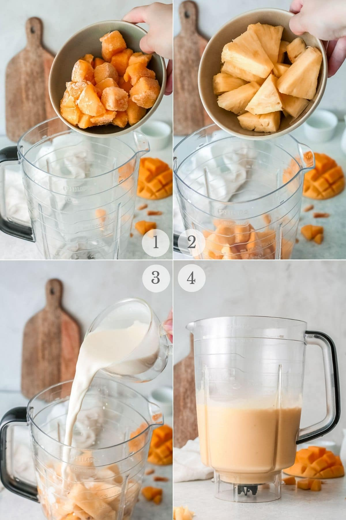 mango smoothie recipe steps collage