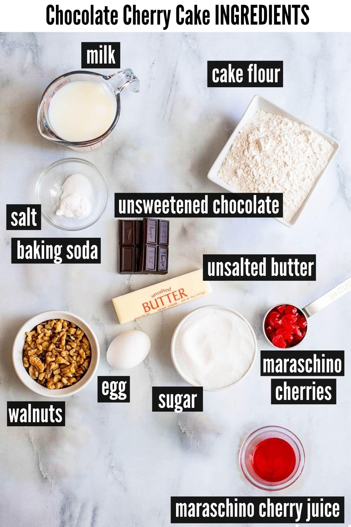 Chocolate Cherry Cake ingredients labeled