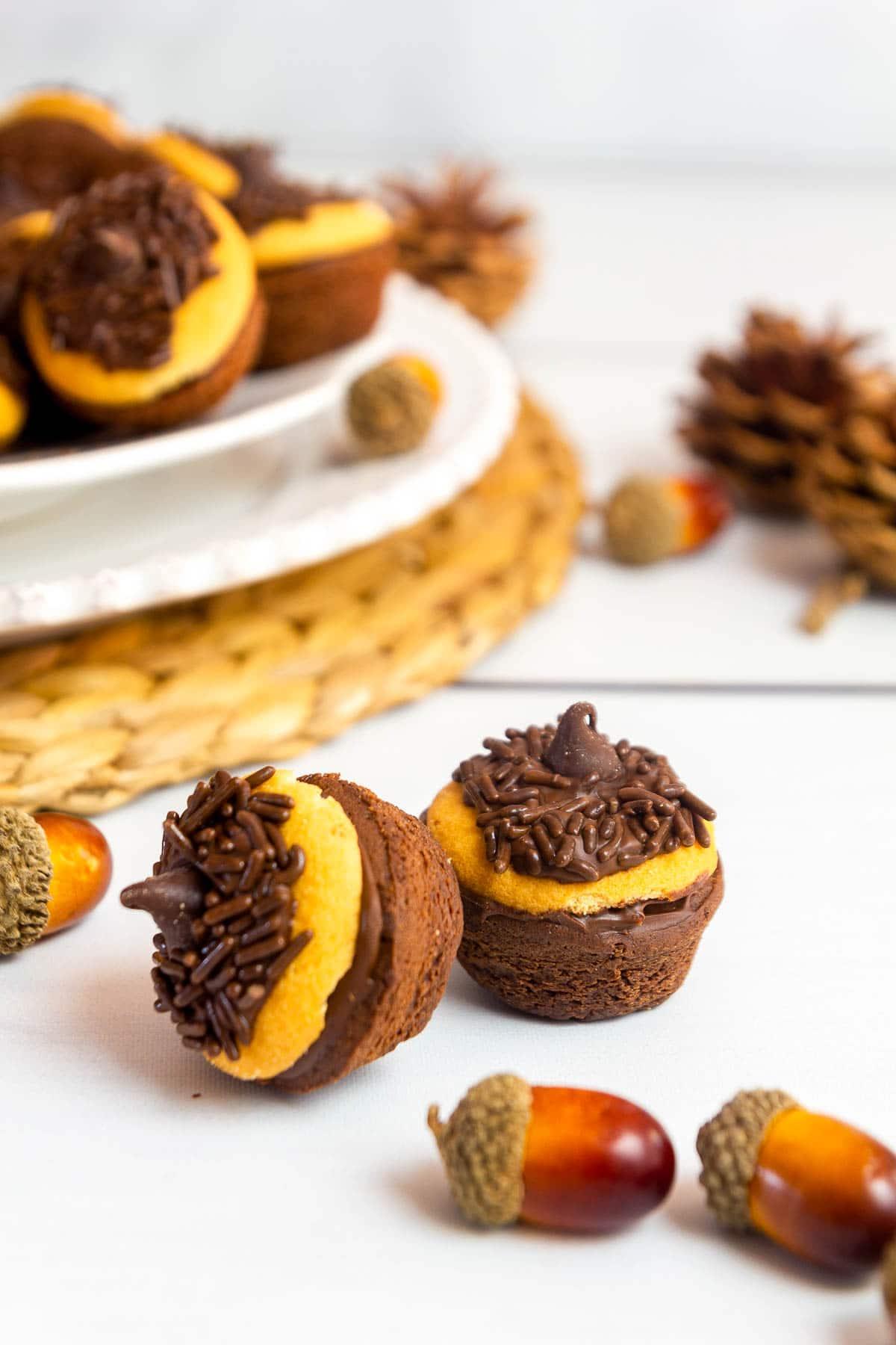 acorn brownie bites close on table