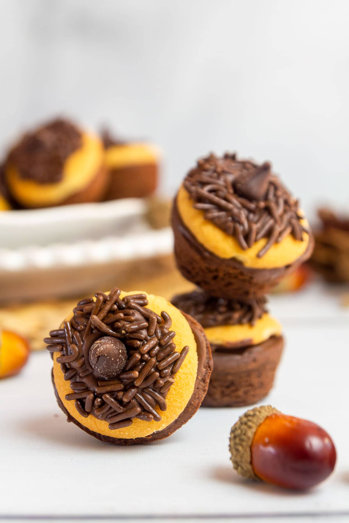 acorn brownie bites close up