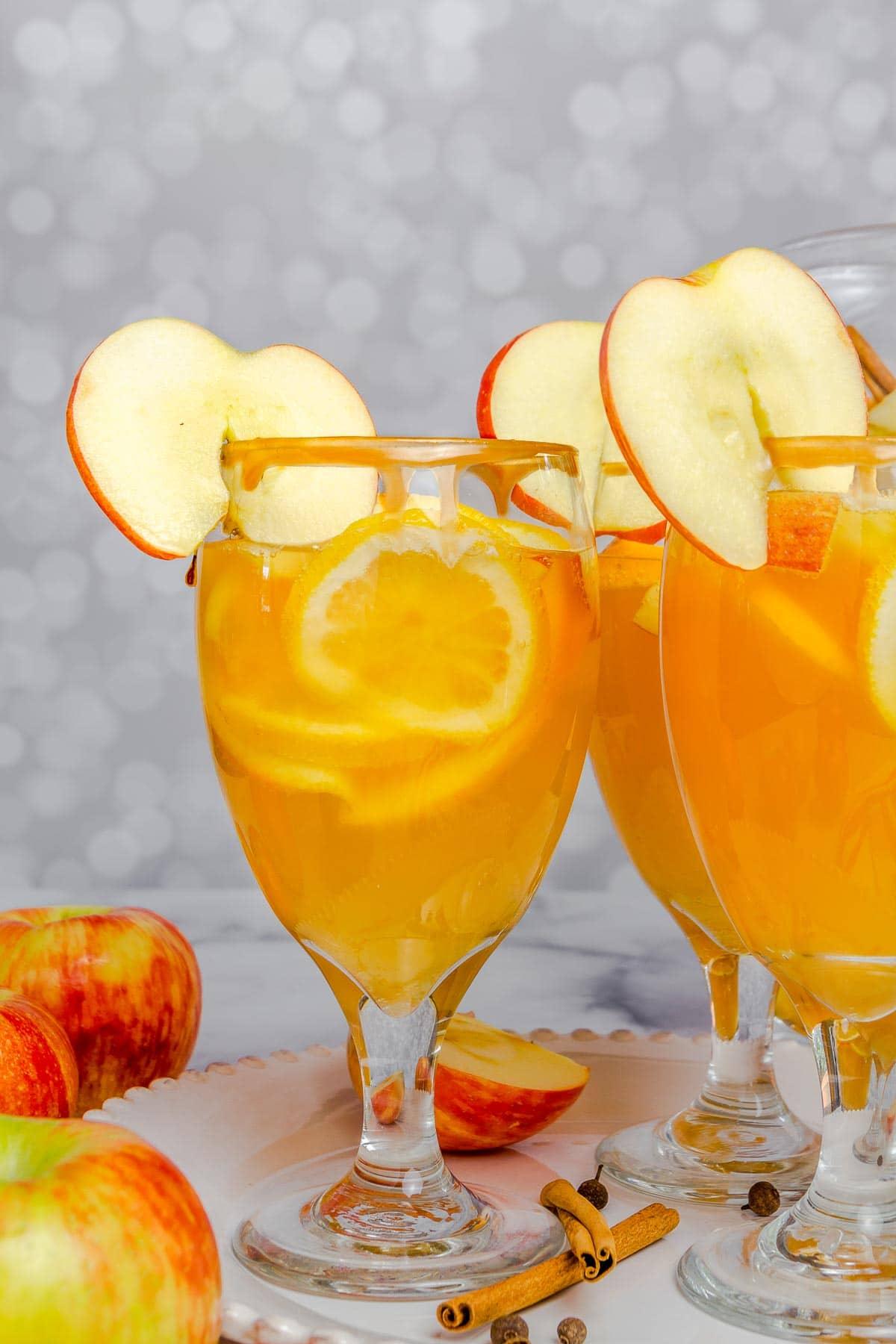apple cider sangria in glasses