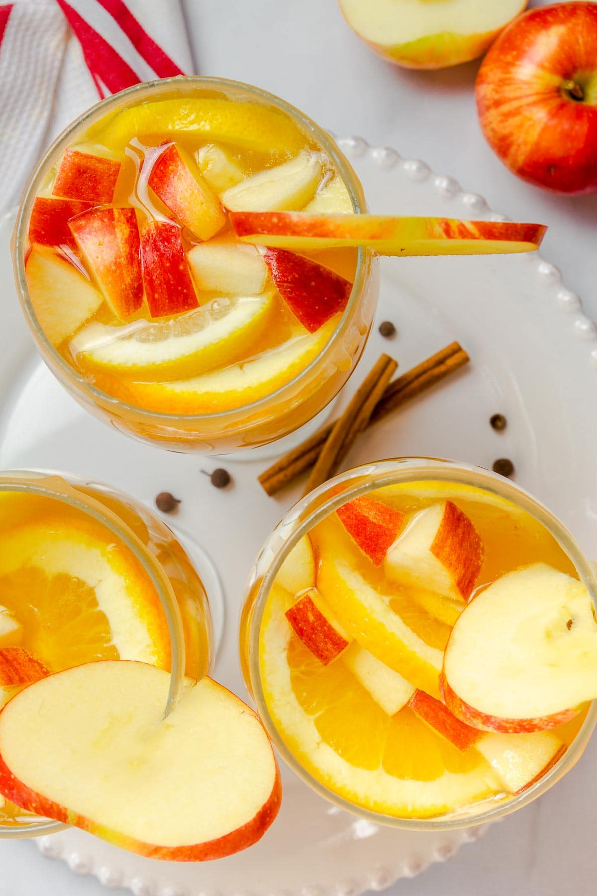 apple cider sangria in glasses from above