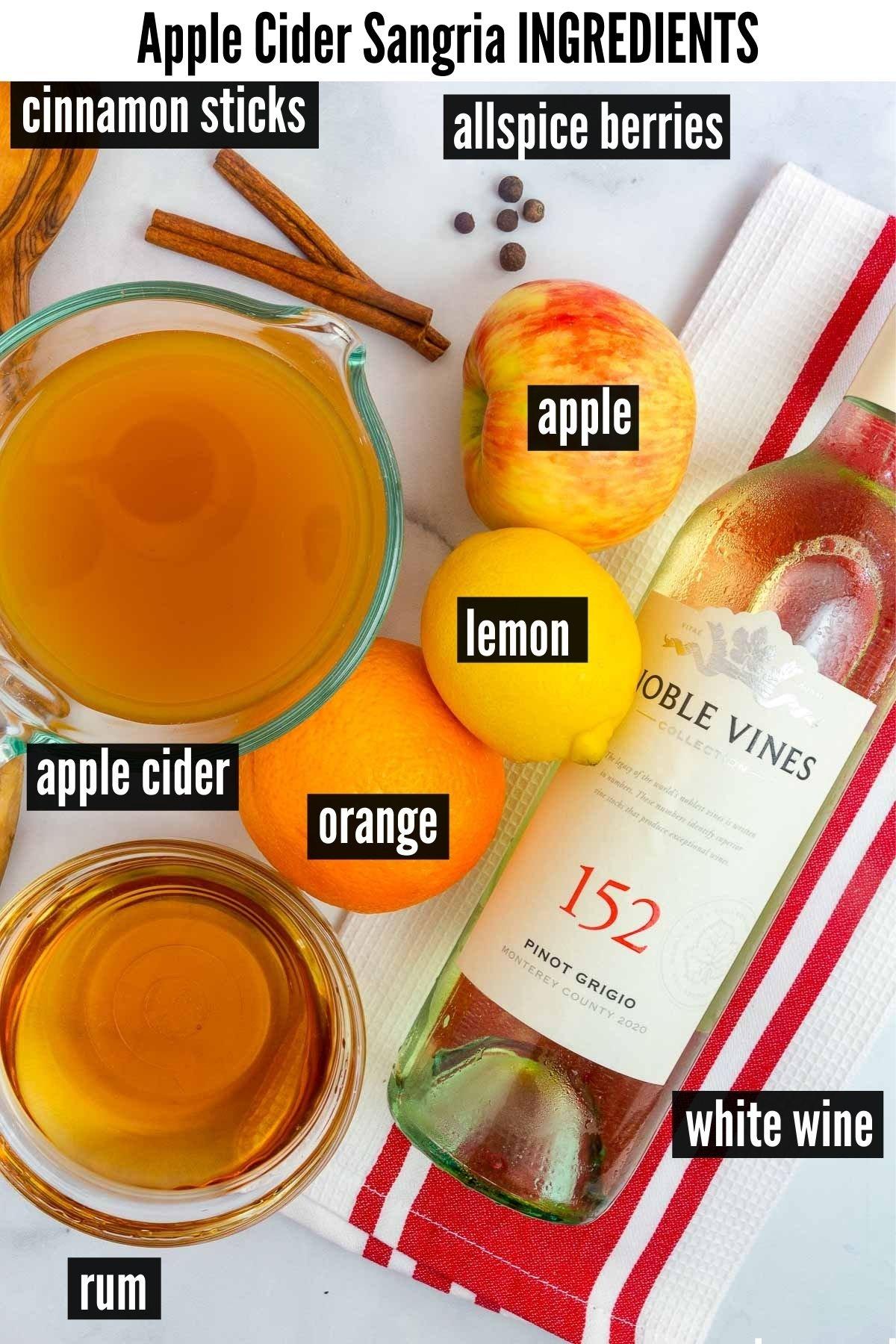 apple cider sangria ingredients labelled