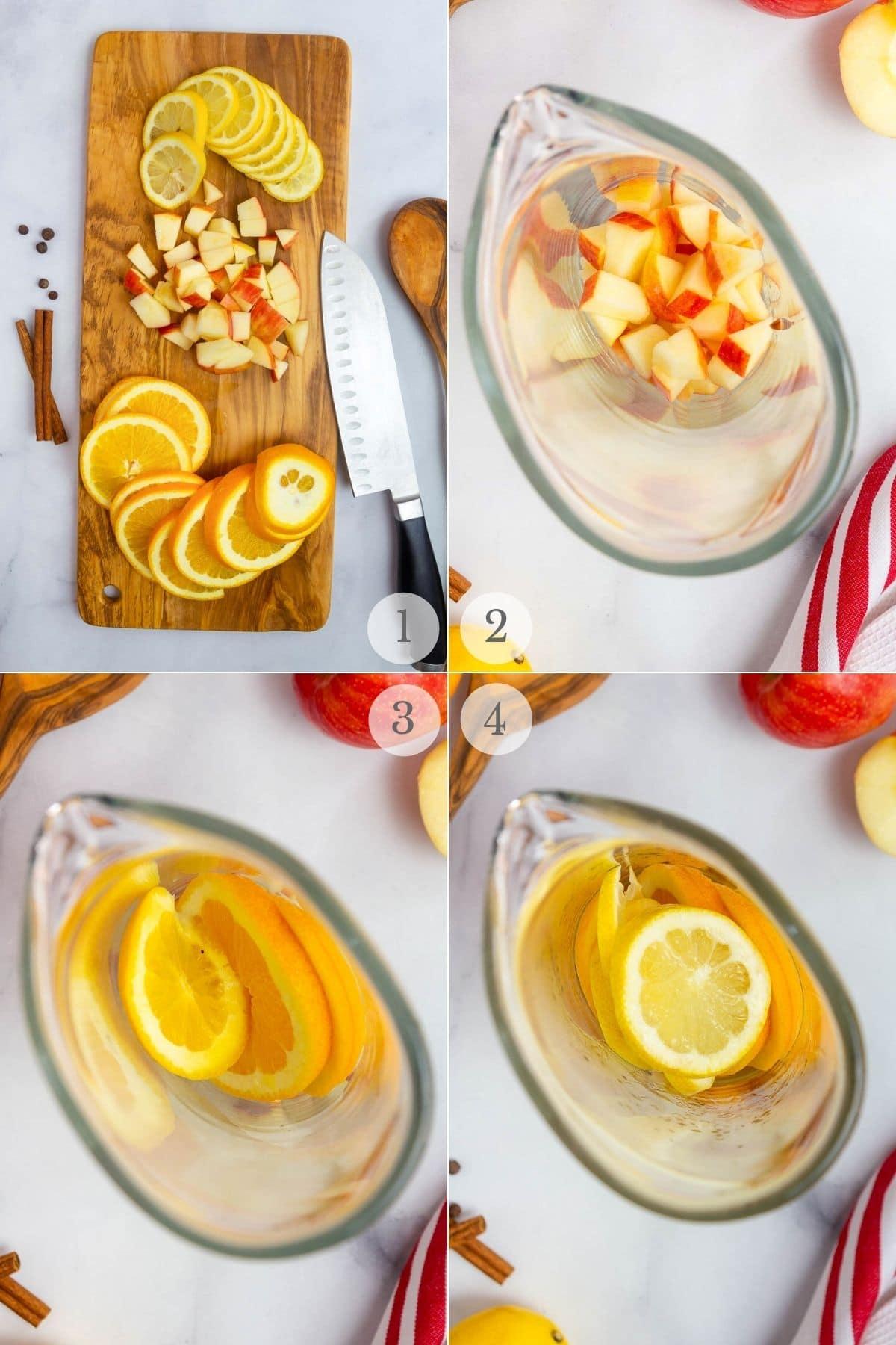 apple cider sangria recipe steps 1-4