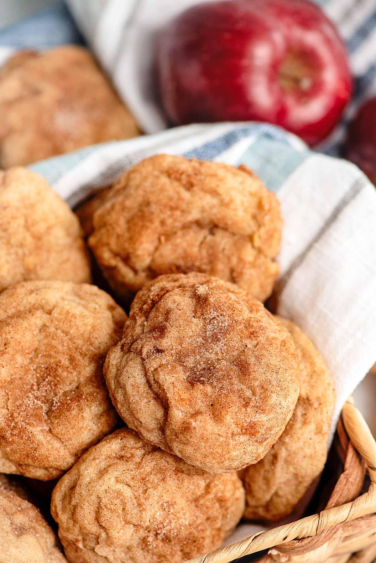 apple cookies in basket close