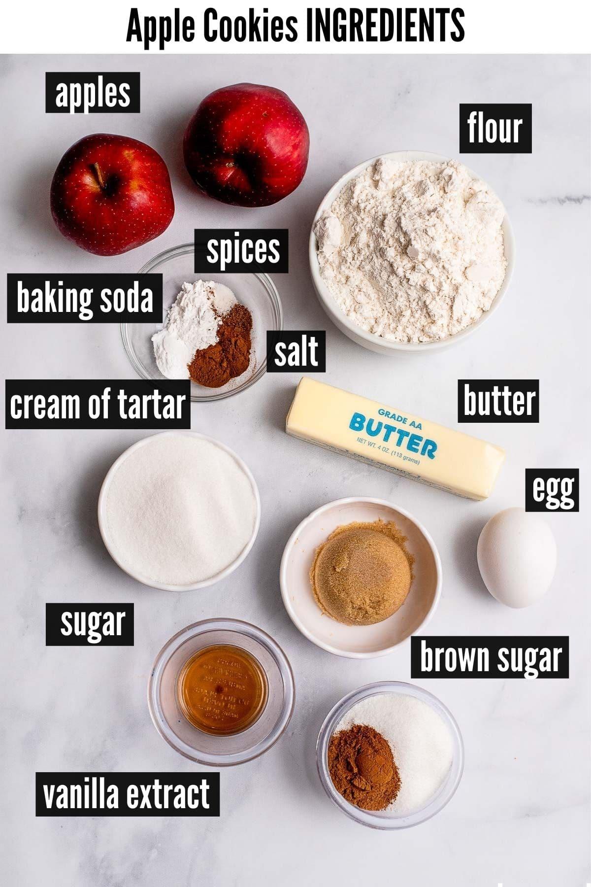 apple cookies labelled ingredients