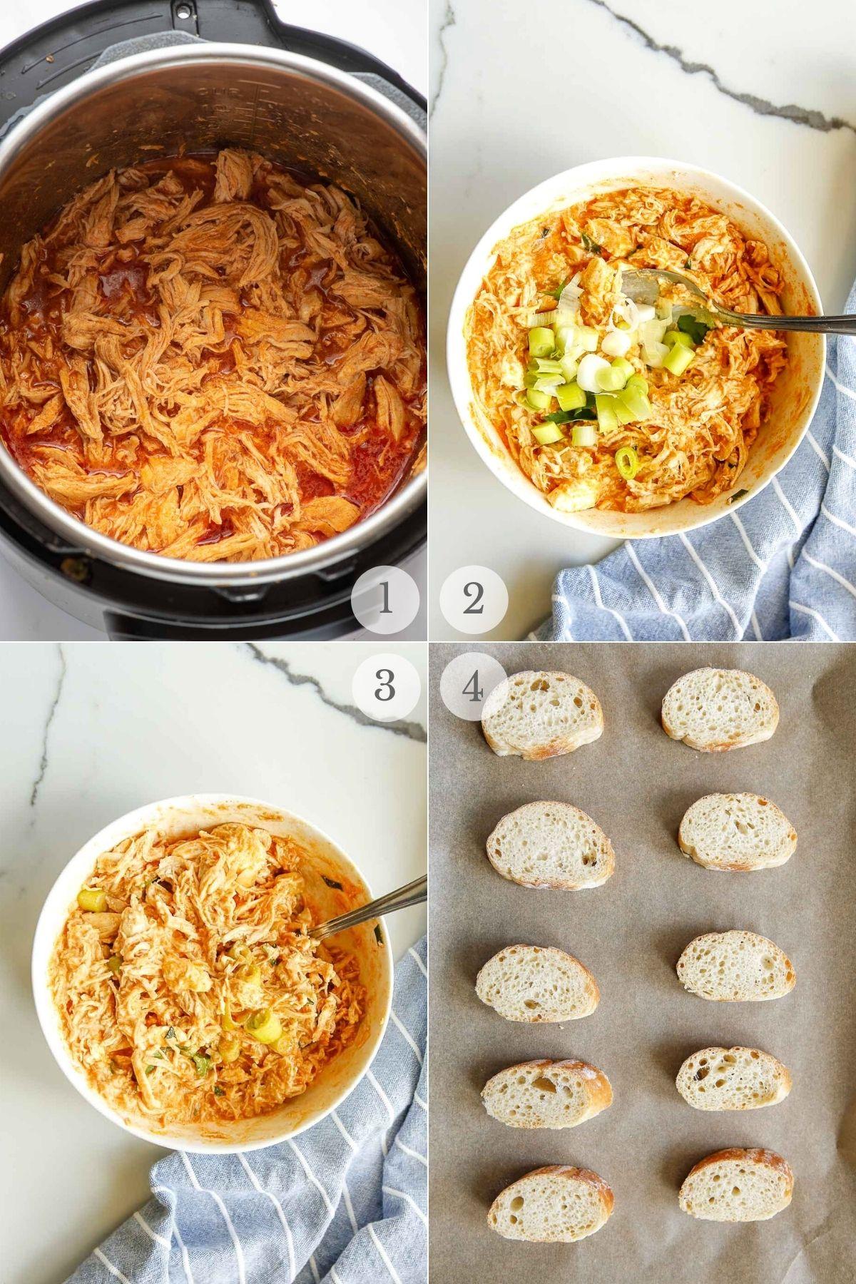 buffalo chicken crostini recipe steps 1-4