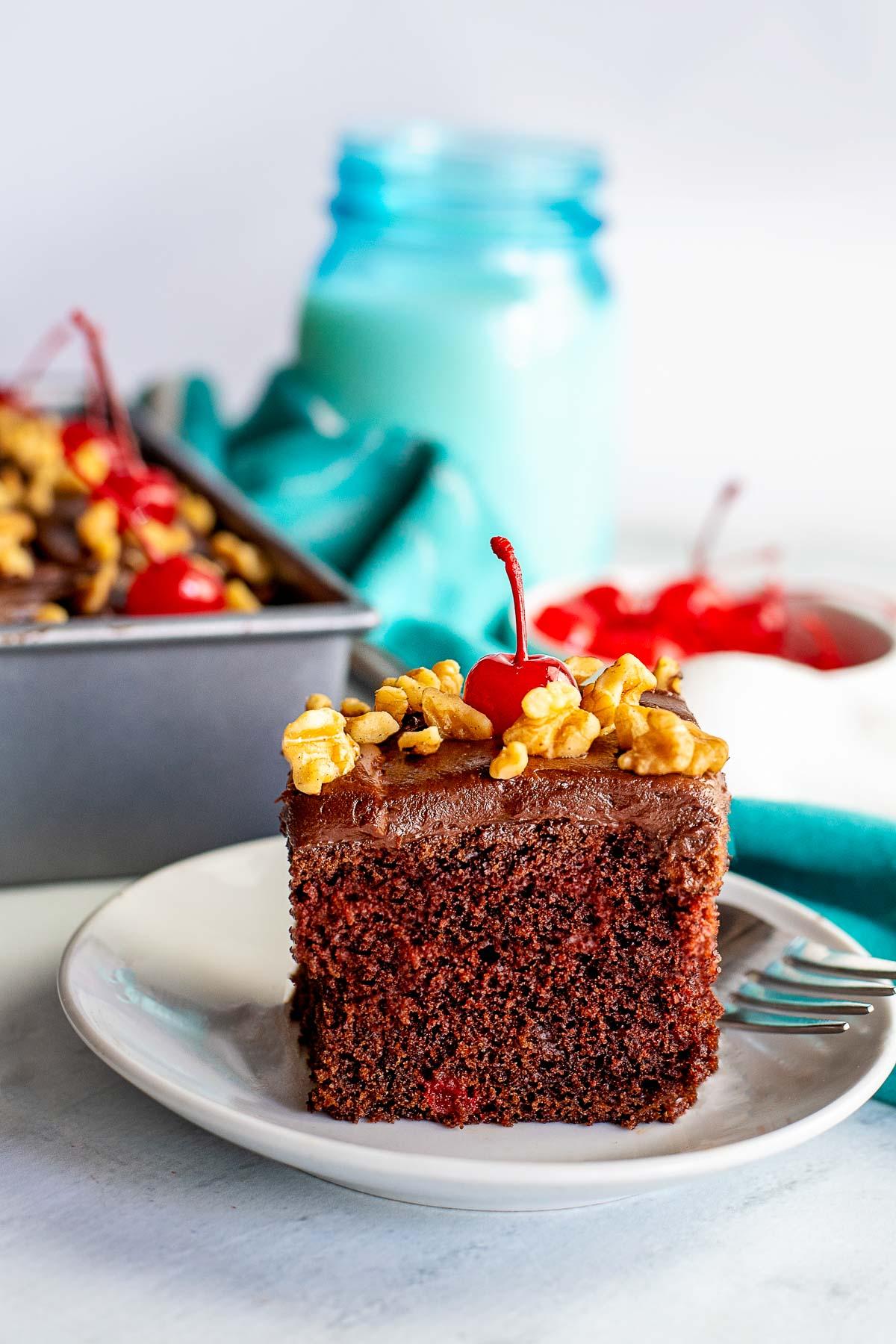chocolate cherry cake piece