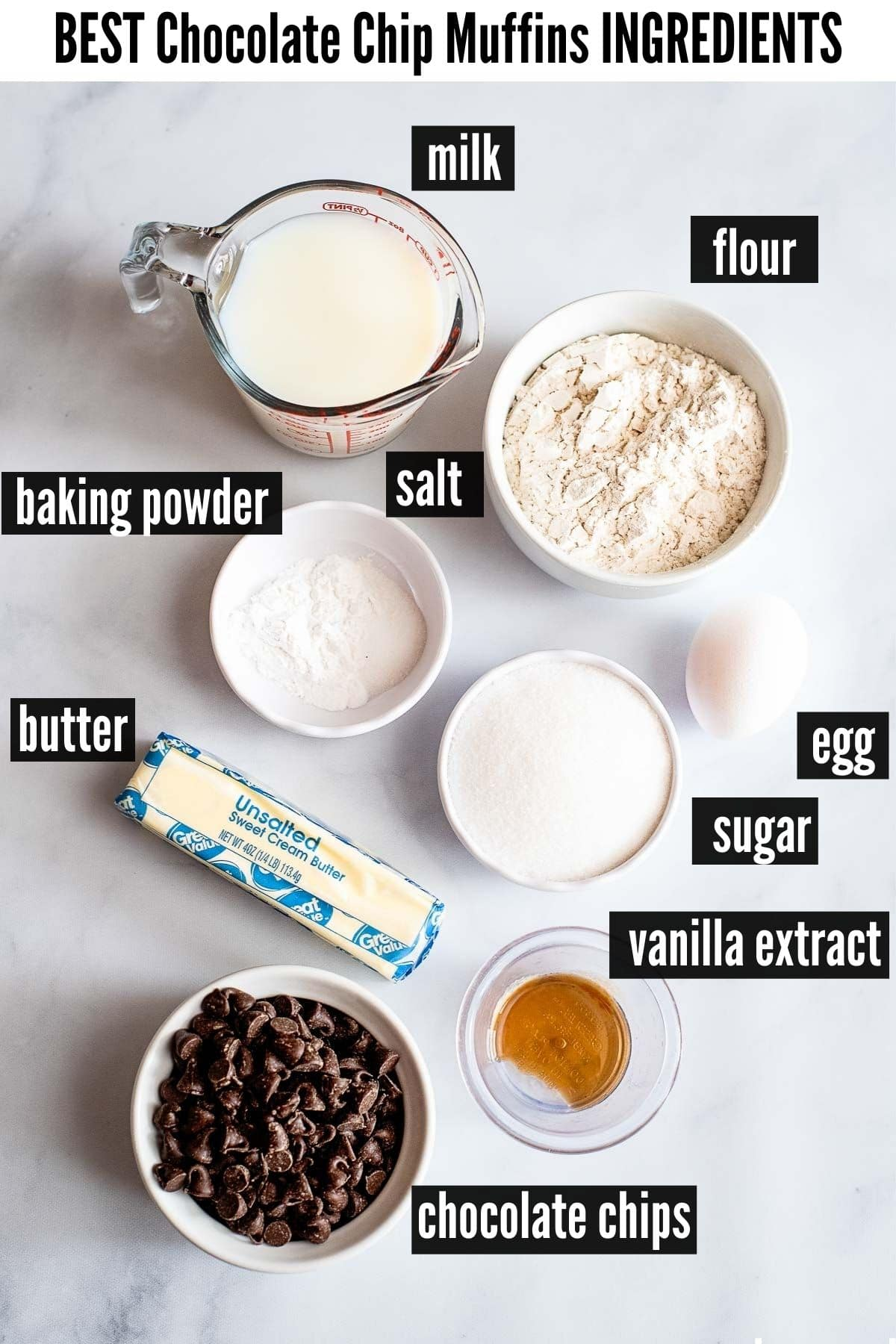 chocolate chip muffins ingredients labelled