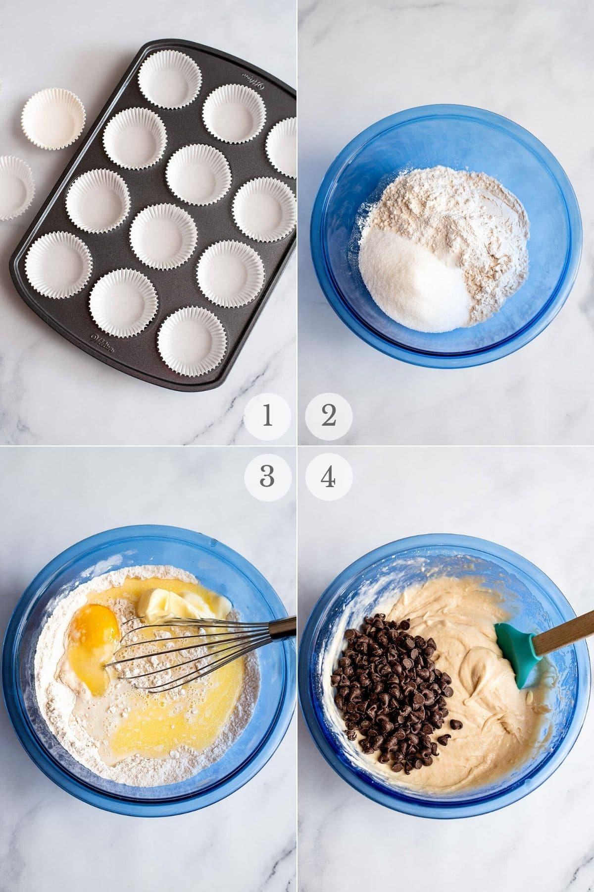 chocolate chip muffins recipe steps 1-4