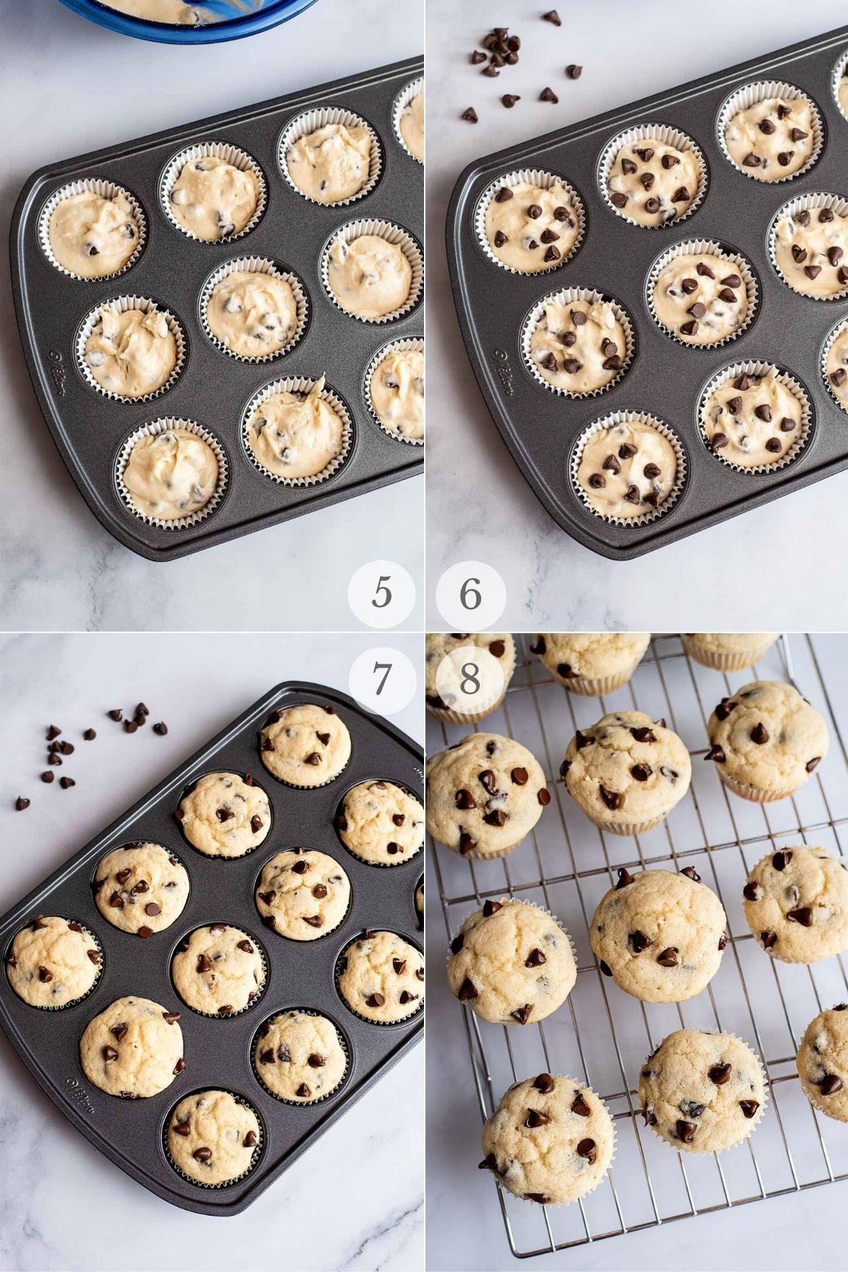 chocolate chip muffins recipe steps 5-8