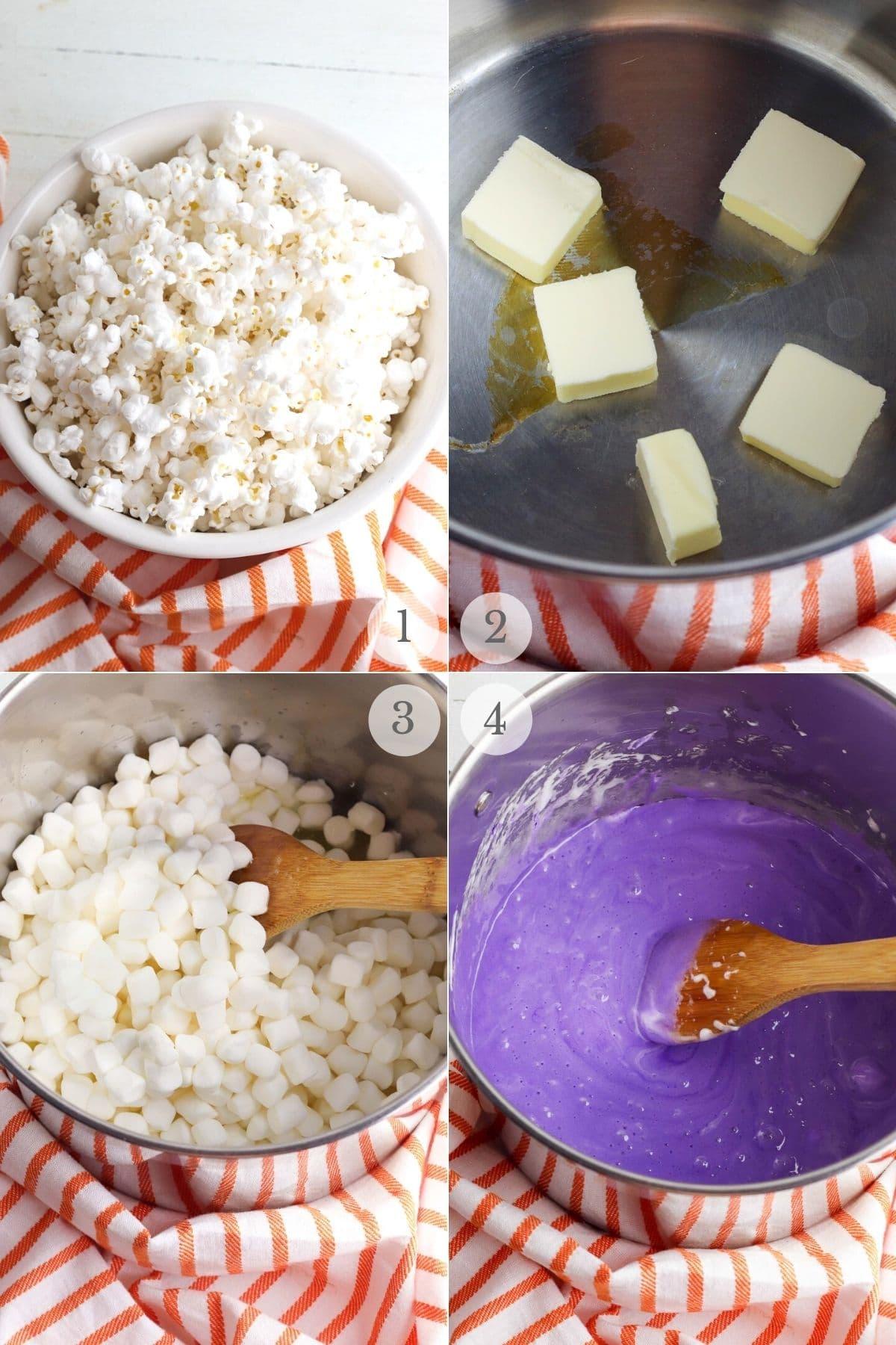 halloween popcorn balls recipe steps 1-4