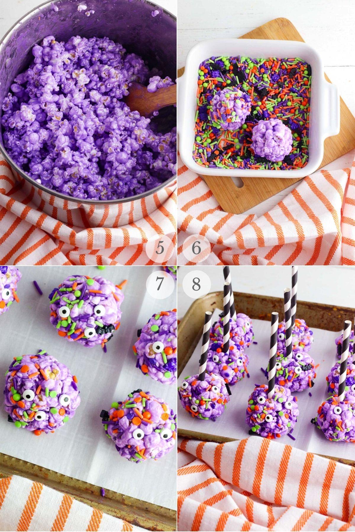 halloween popcorn balls recipe steps 5-8