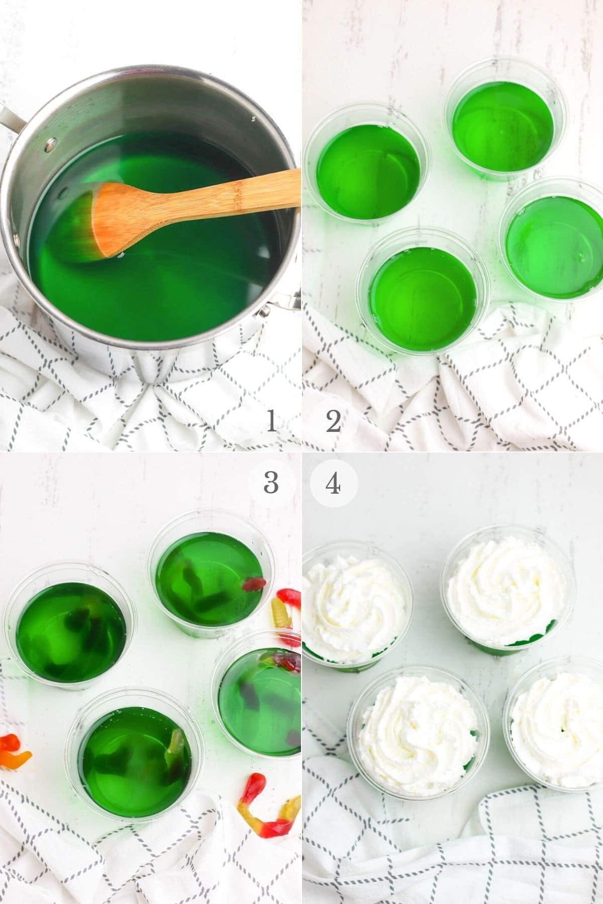halloween treat jello cups recipe steps 1-4