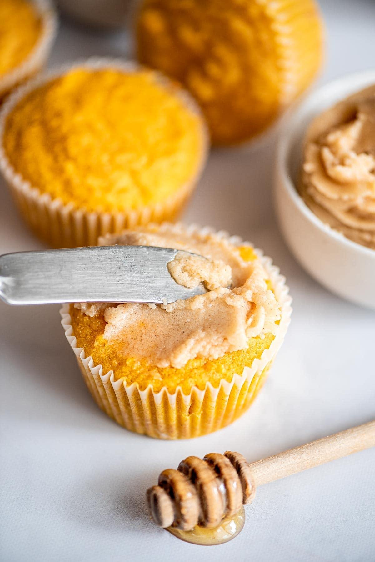 honey butter on cornbread muffin
