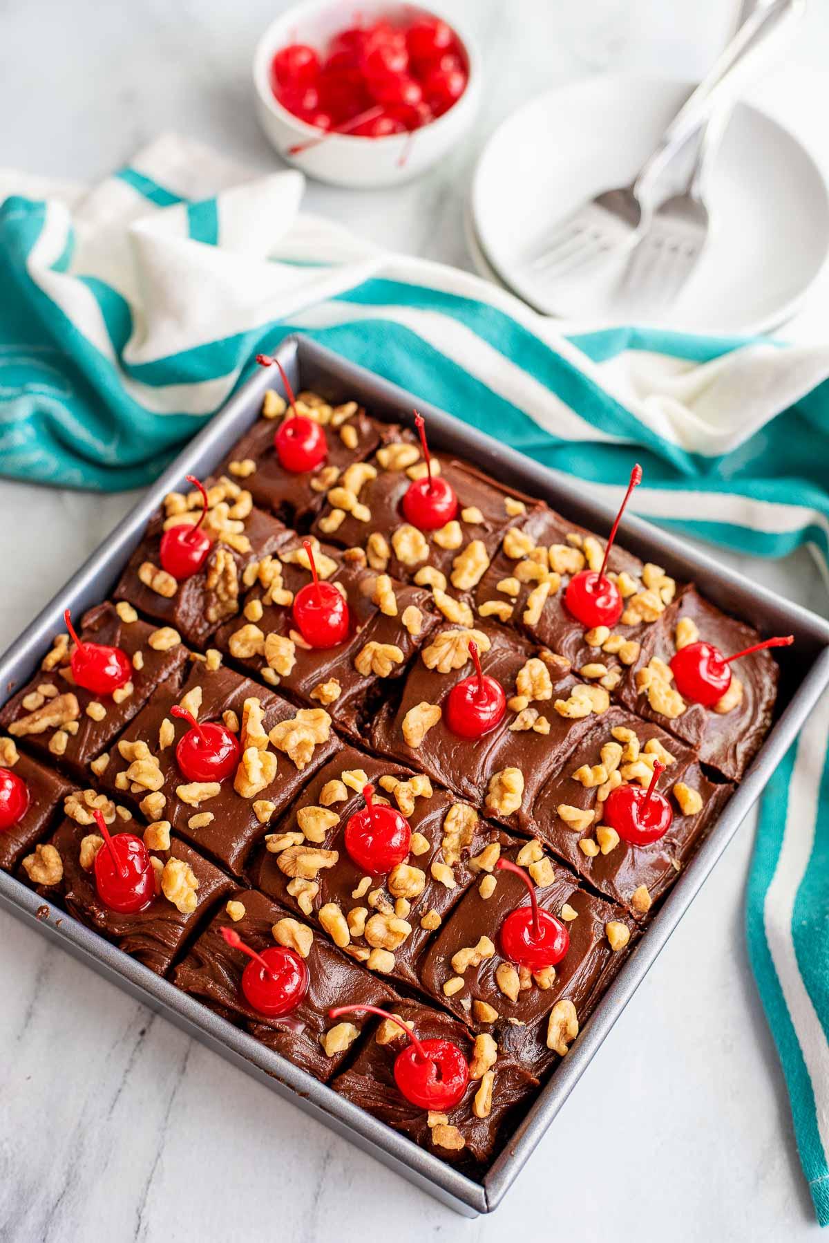 chocolate cherry cake sliced in pan