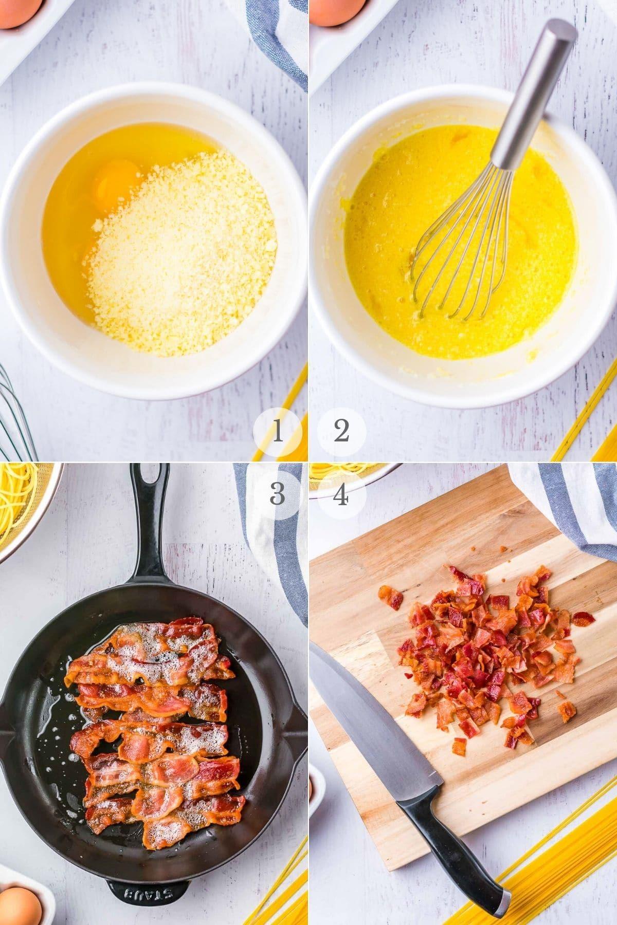 spaghetti carbonara recipe steps 1-4