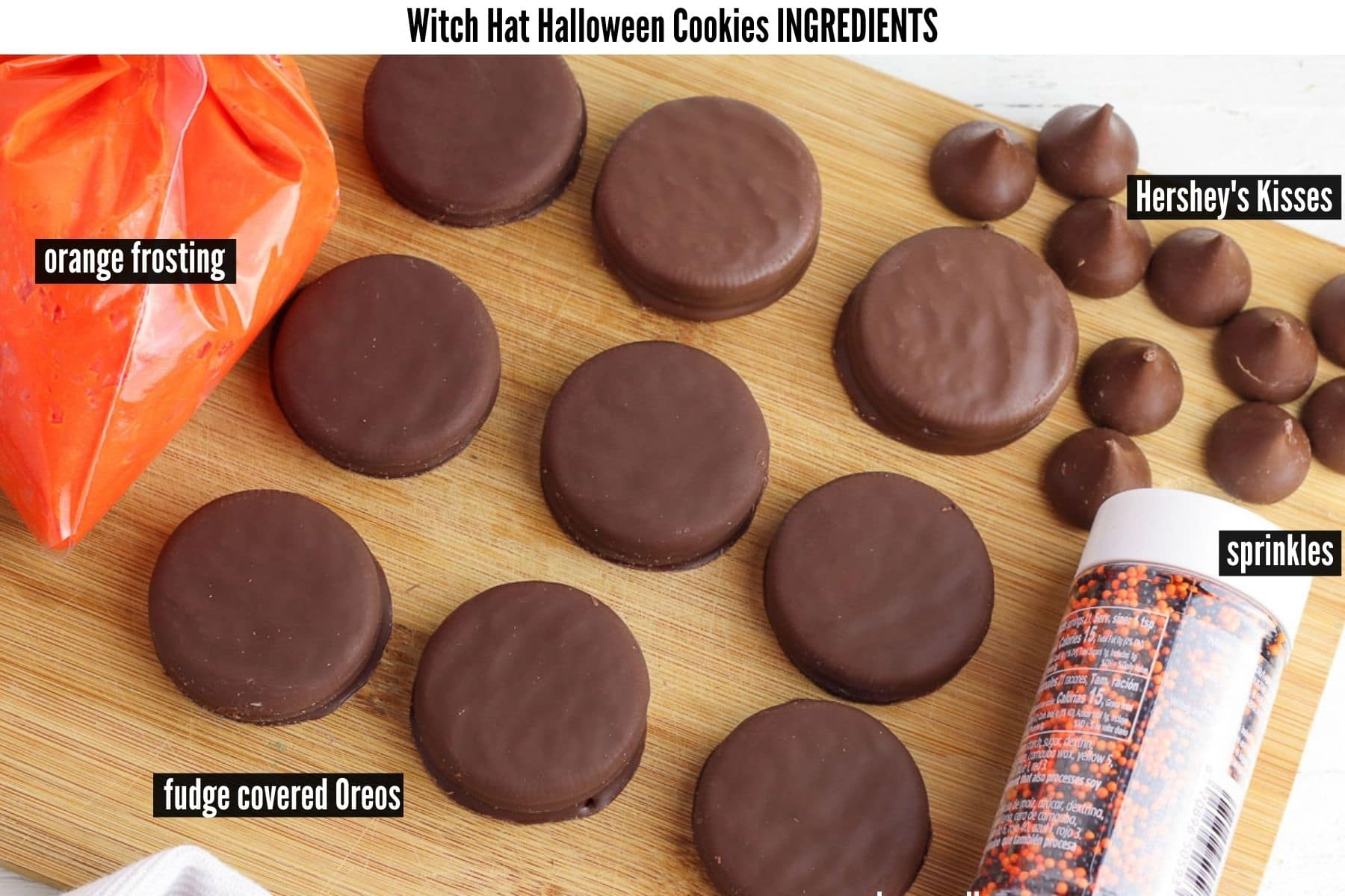 witch hat halloween cookies ingredients labelled