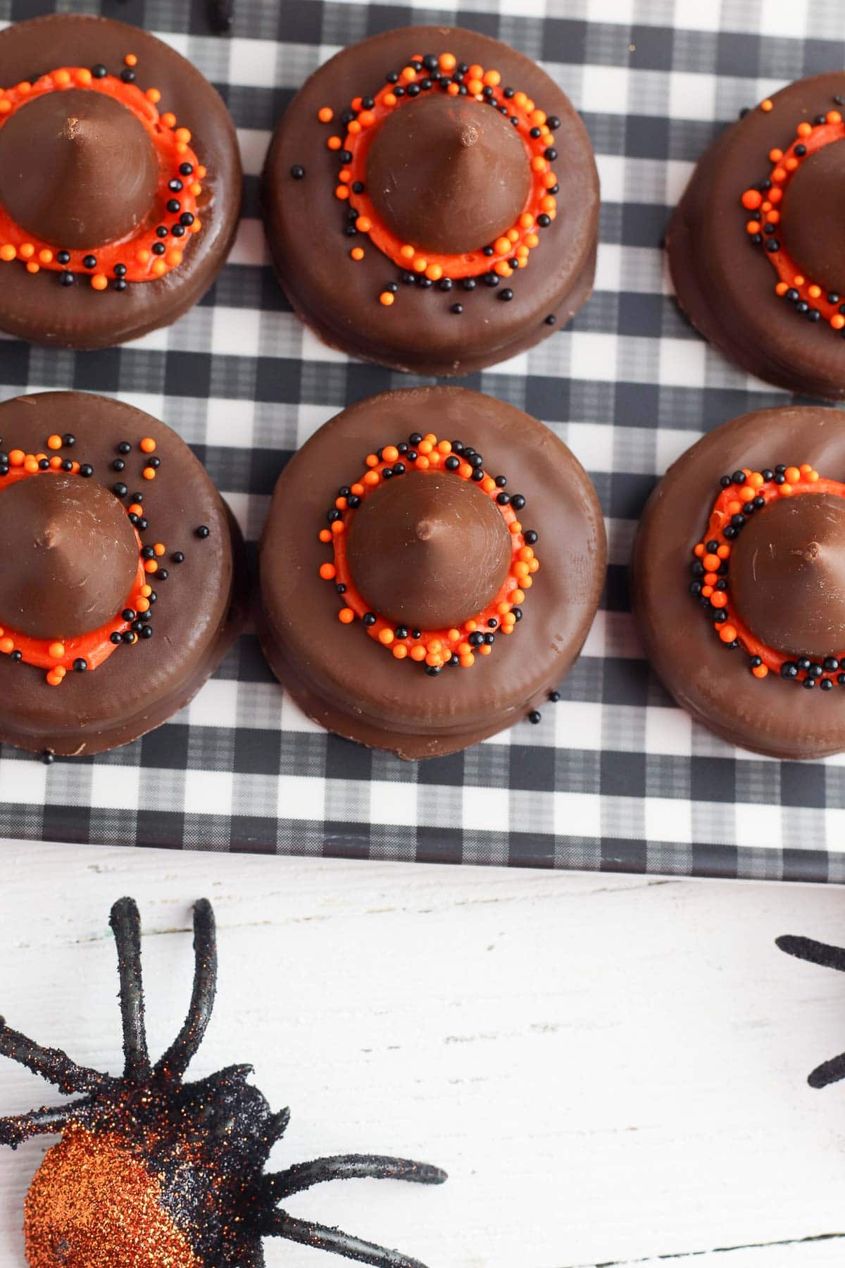 witch hat halloween cookies on tray from above