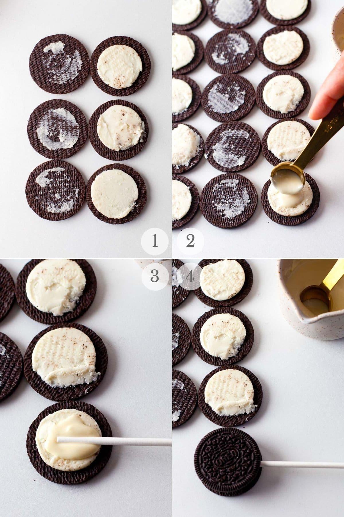 Mummy Oreo Cookie Pops recipe steps 1-4