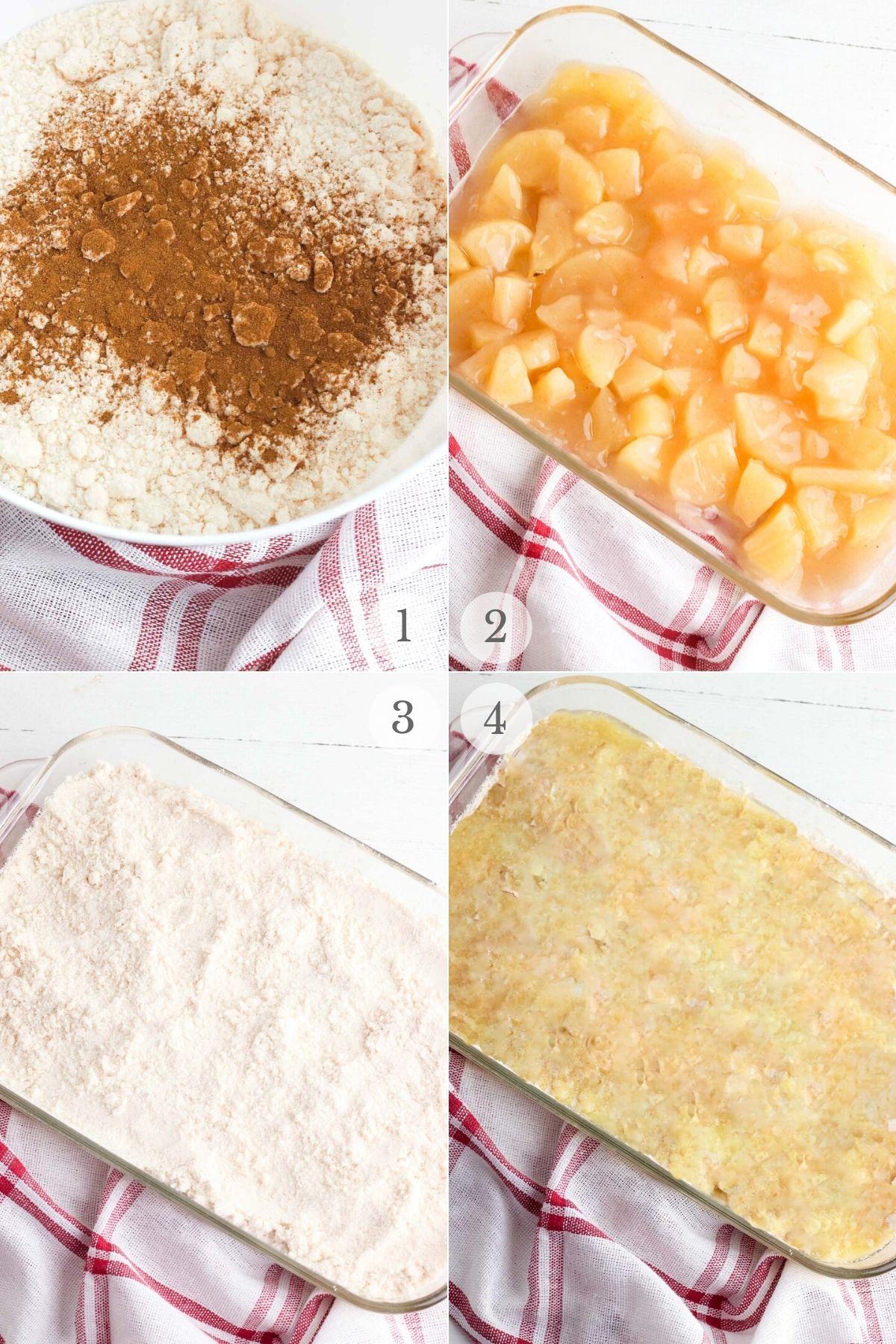 apple dump cake recipe steps 1-4
