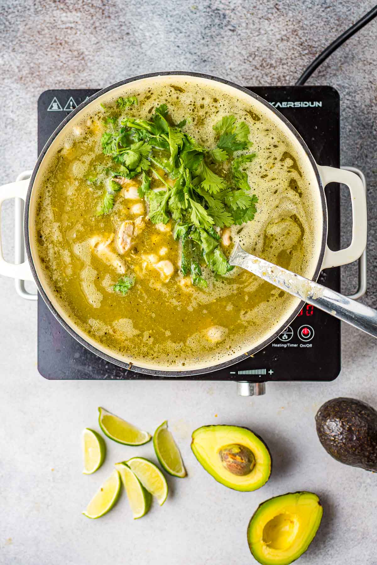 green pozle cooking with cilantro